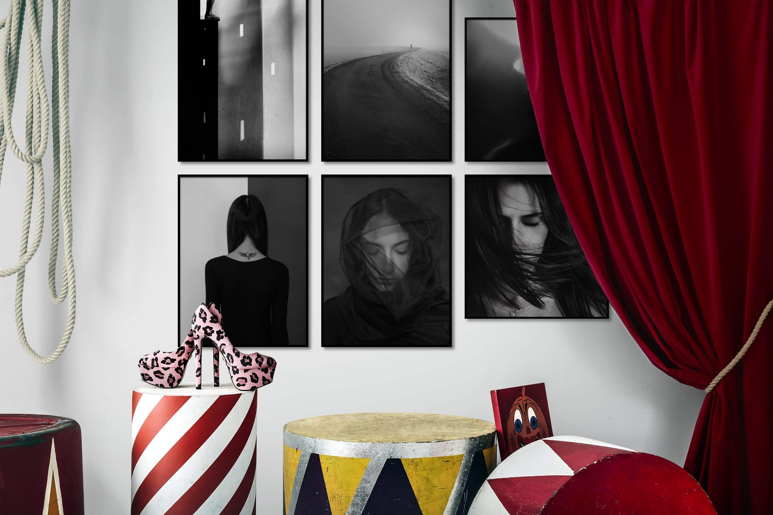 Gallery wall idea with six framed pictures arranged on a wall depicting Artsy, Black & White, For the Moderate, Country Life, and Fashion & Beauty