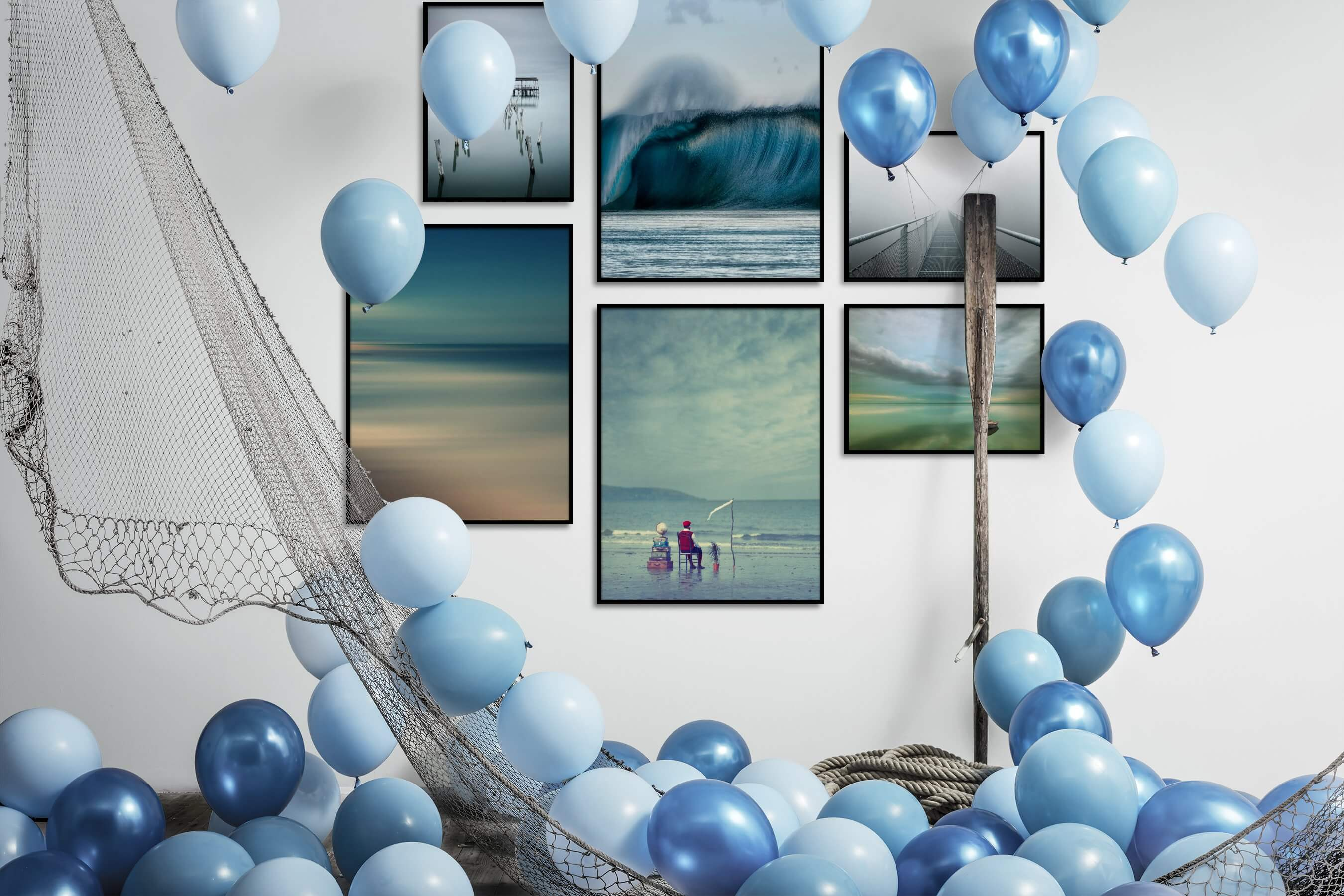 Gallery wall idea with six framed pictures arranged on a wall depicting For the Moderate, Beach & Water, Mindfulness, For the Minimalist, Artsy, and Nature