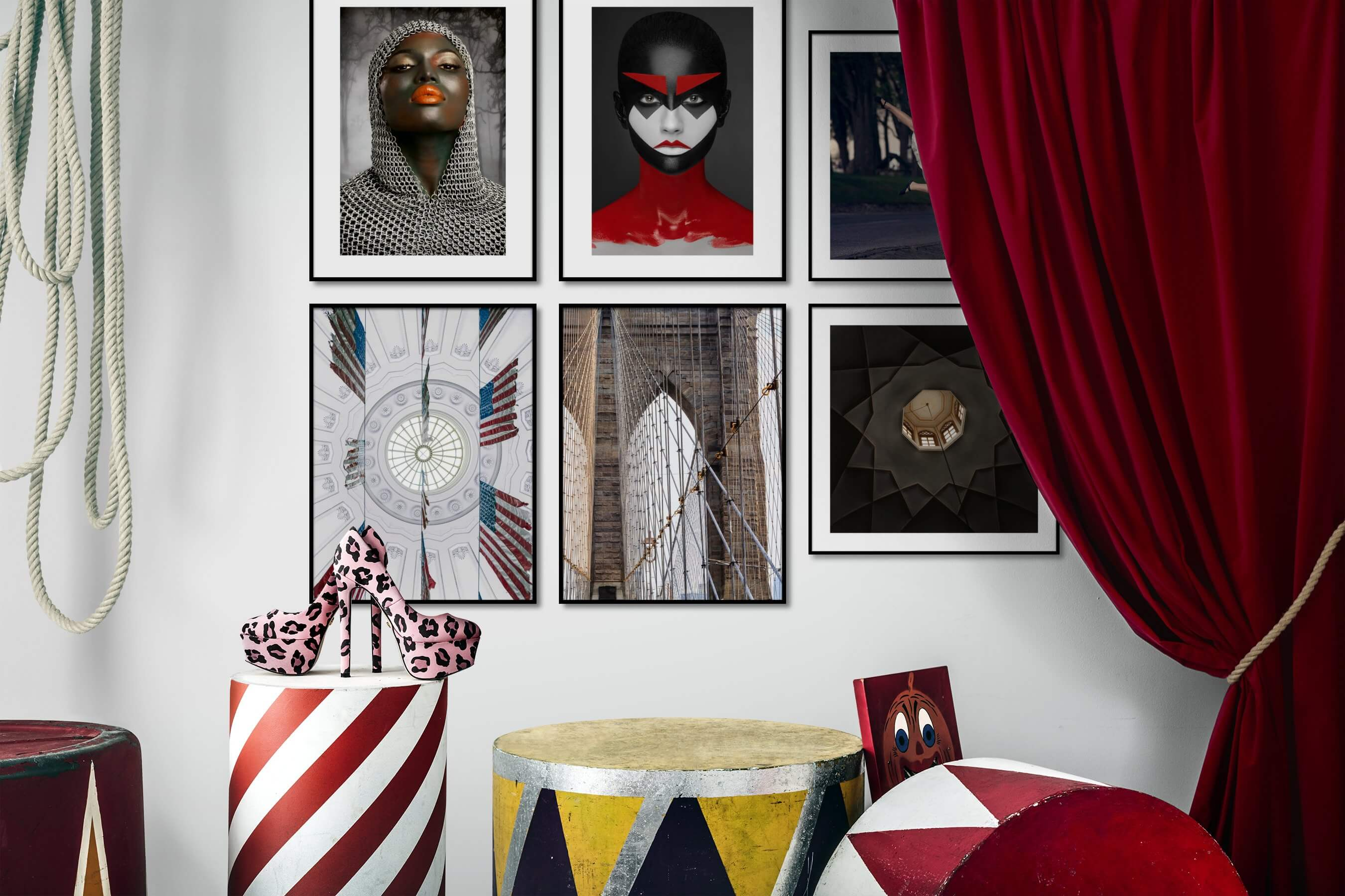 Gallery wall idea with six framed pictures arranged on a wall depicting Fashion & Beauty, Artsy, Colorful, For the Moderate, Americana, For the Maximalist, City Life, and Vintage