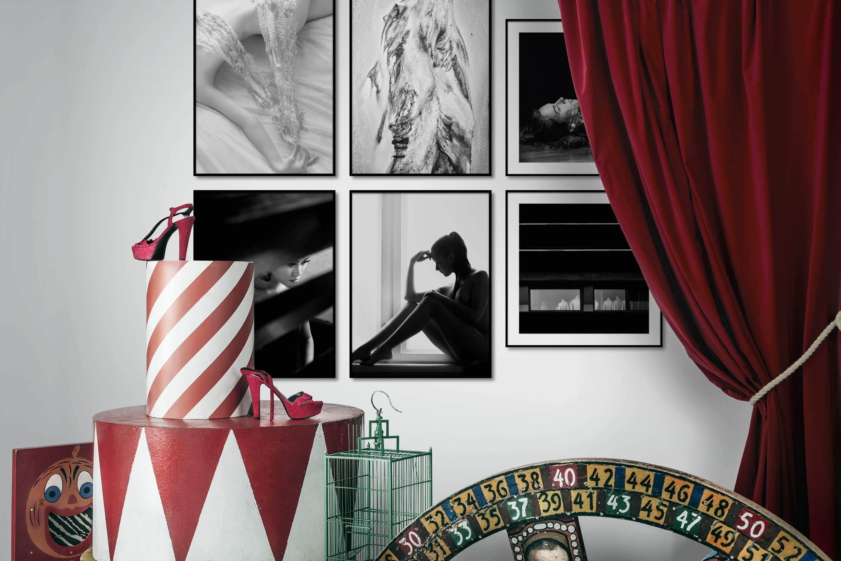 Gallery wall idea with six framed pictures arranged on a wall depicting Fashion & Beauty, Black & White, For the Moderate, Nature, Bold, Dark Tones, and Artsy