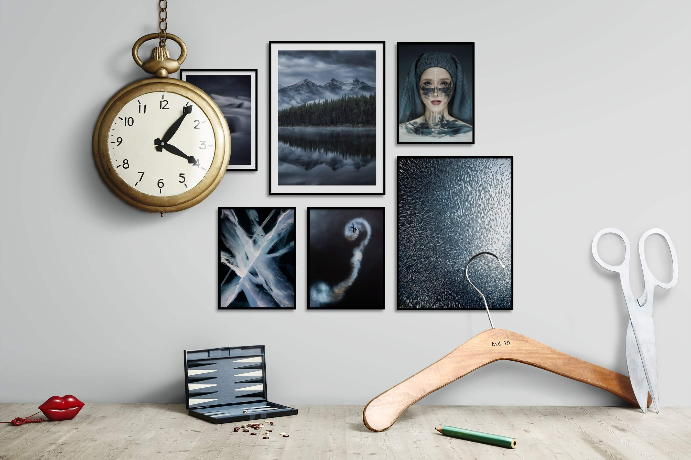 Gallery wall idea with six framed pictures arranged on a wall depicting Black & White, For the Moderate, Nature, Dark Tones, For the Minimalist, Fashion & Beauty, and Animals