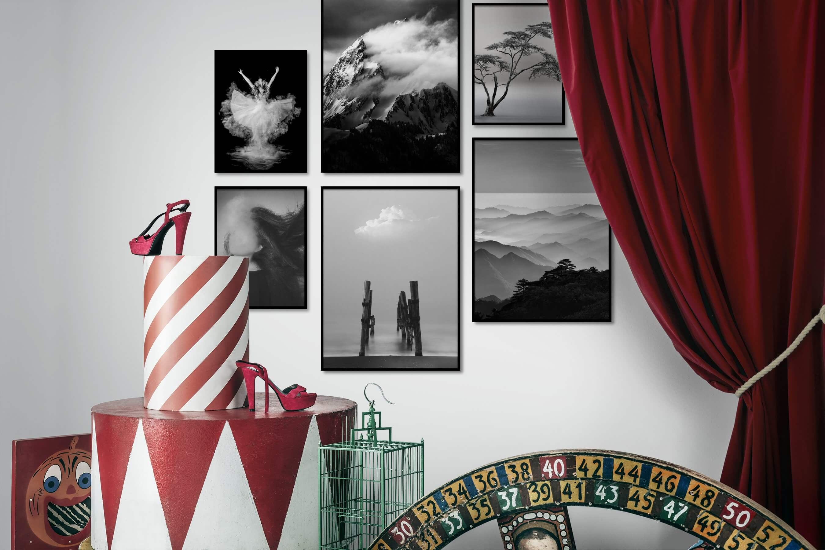 Gallery wall idea with six framed pictures arranged on a wall depicting Fashion & Beauty, Black & White, Dark Tones, For the Moderate, Nature, Mindfulness, Artsy, Beach & Water, and For the Minimalist