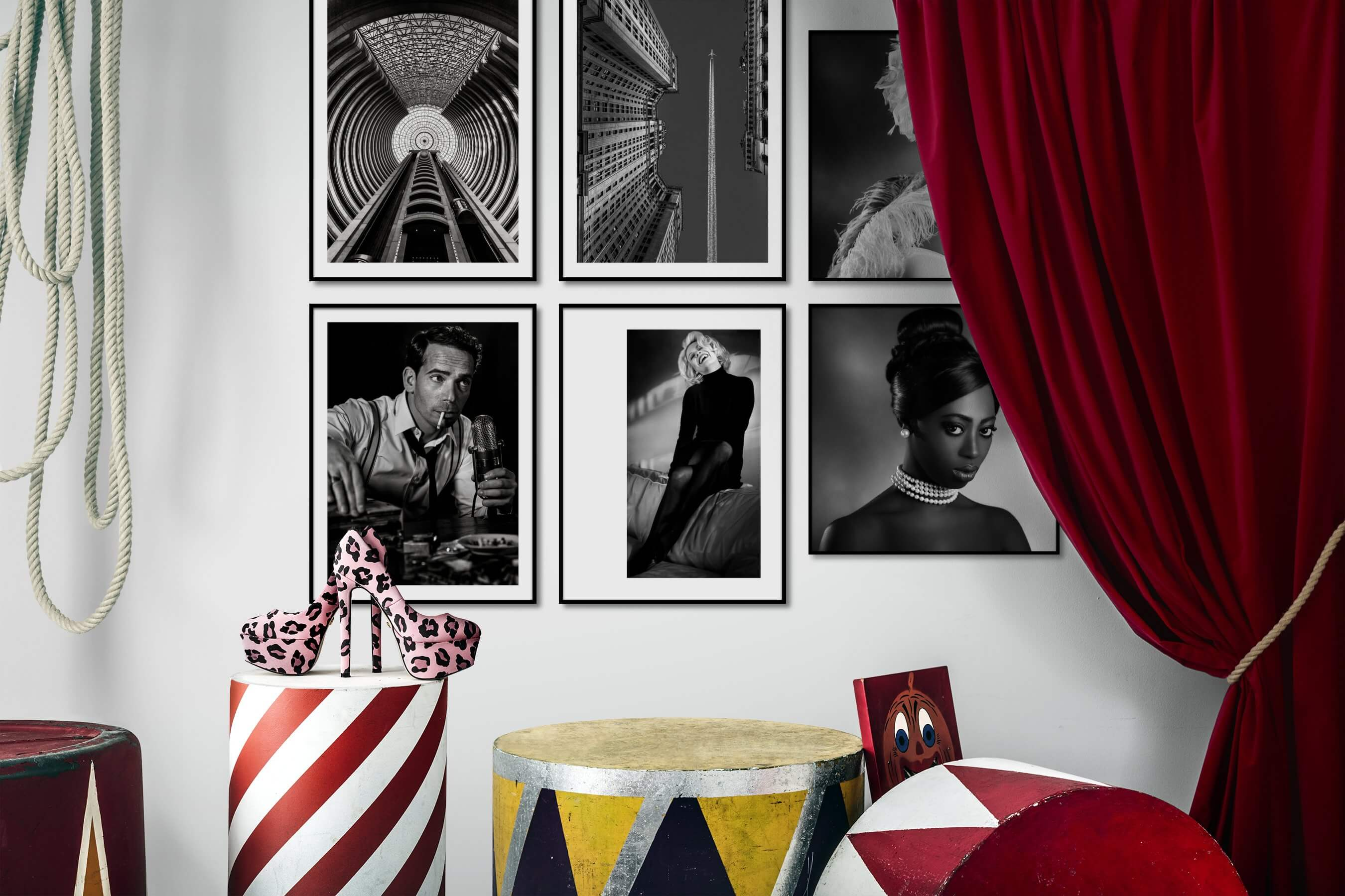 Gallery wall idea with six framed pictures arranged on a wall depicting Black & White, For the Maximalist, For the Moderate, City Life, Americana, Fashion & Beauty, and Vintage