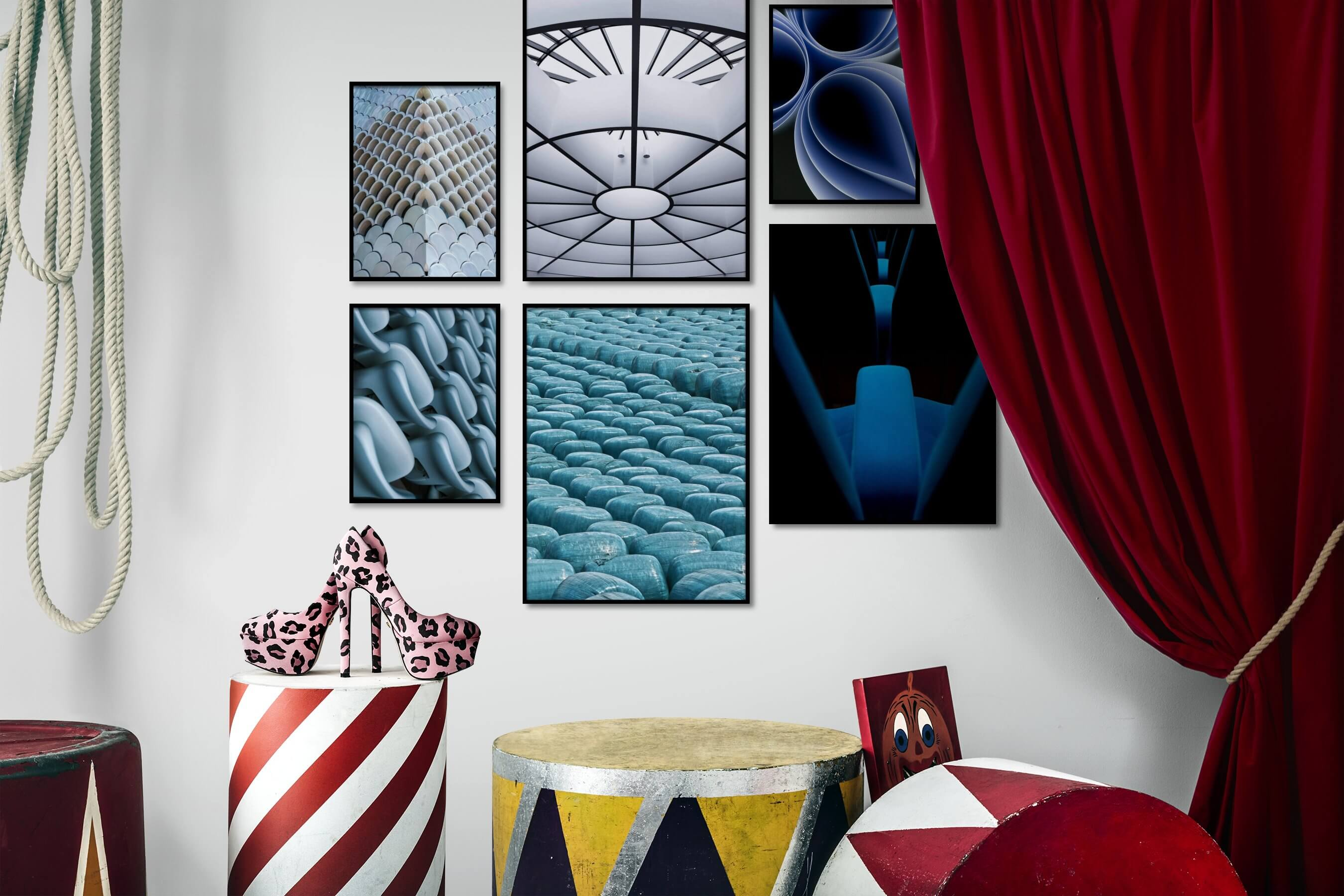 Gallery wall idea with six framed pictures arranged on a wall depicting For the Maximalist, Black & White, Colorful, For the Moderate, and Dark Tones