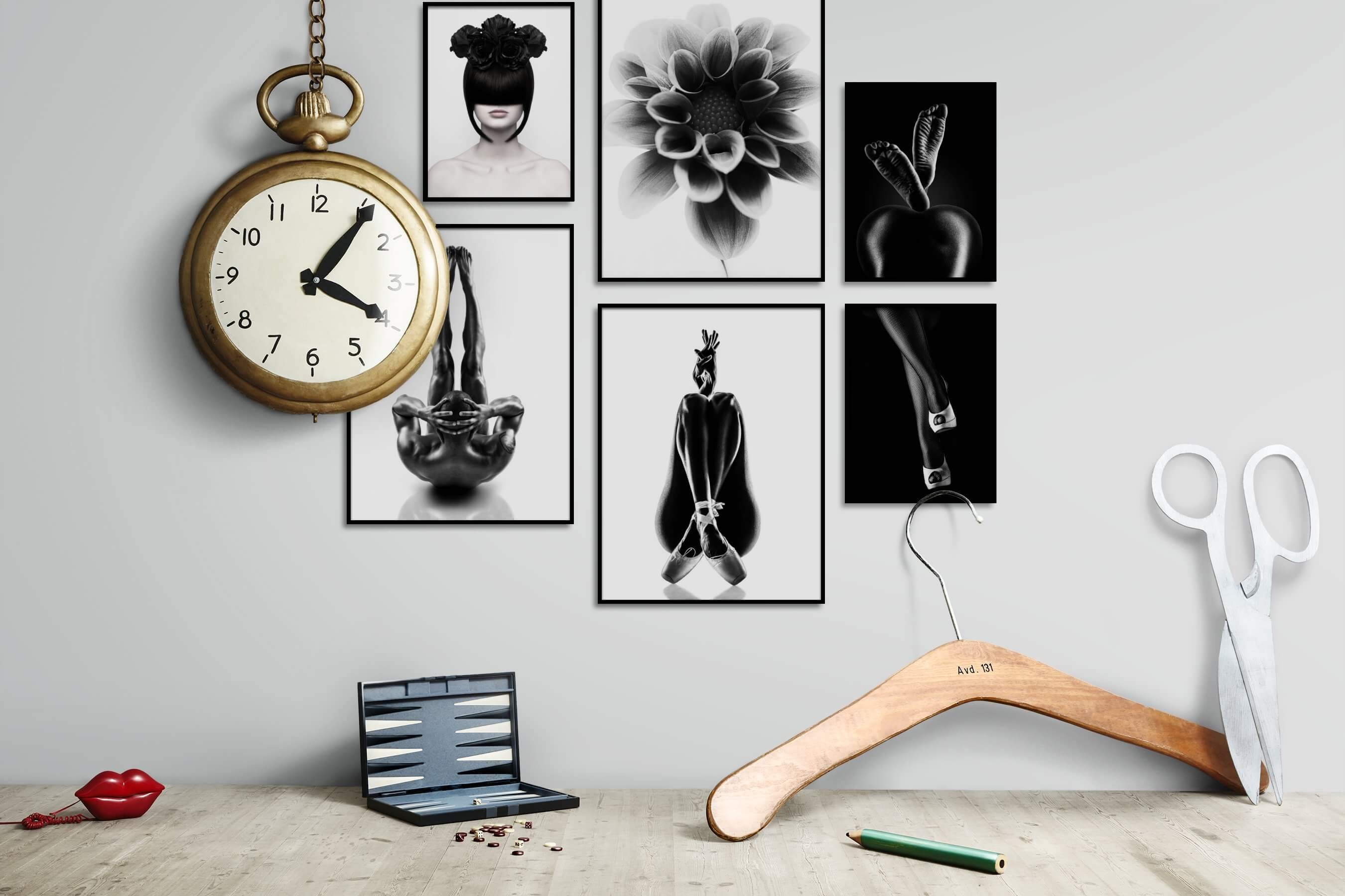 Gallery wall idea with six framed pictures arranged on a wall depicting Fashion & Beauty, Bright Tones, Black & White, For the Moderate, Flowers & Plants, For the Minimalist, Mindfulness, and Dark Tones
