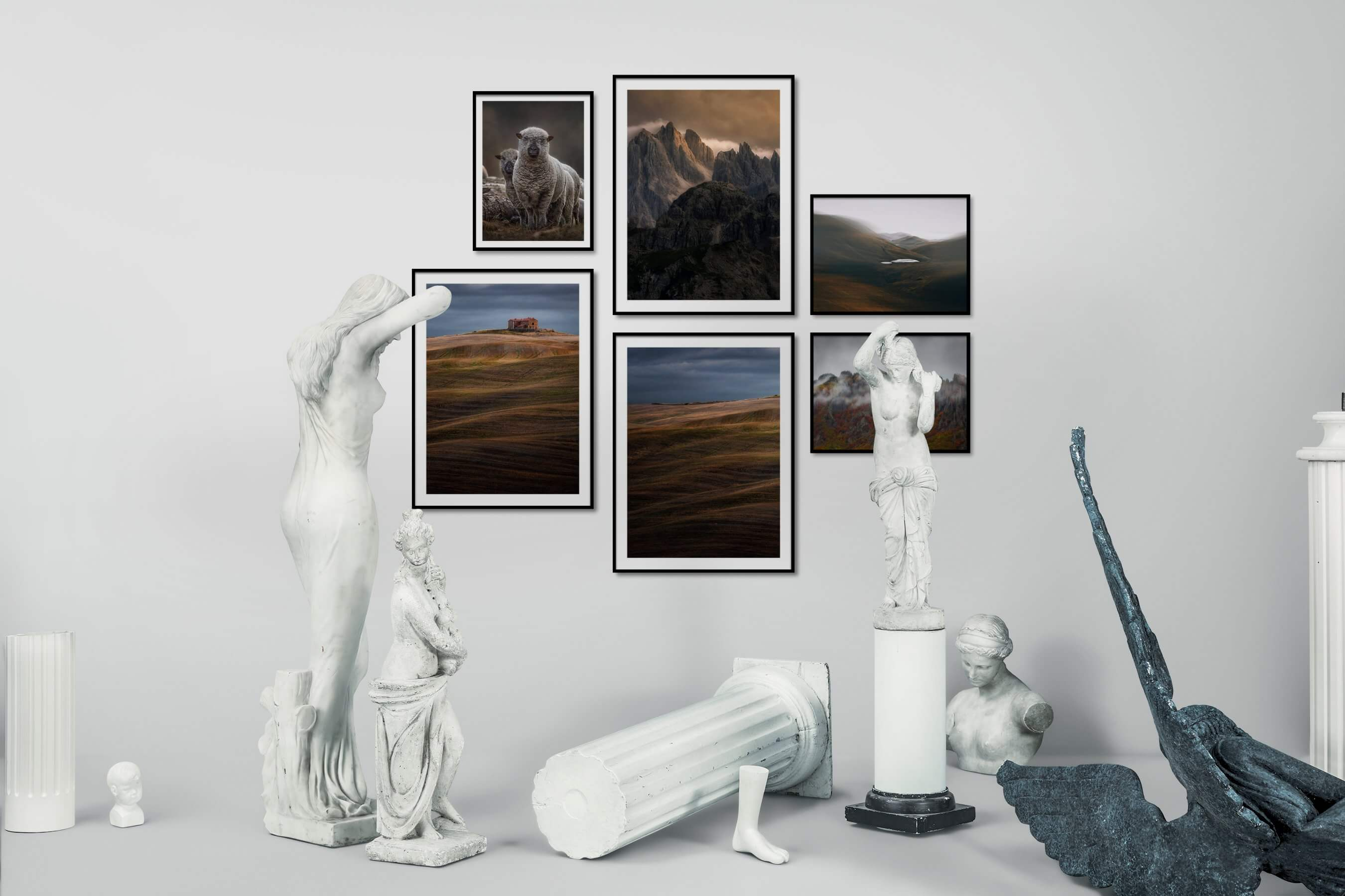 Gallery wall idea with six framed pictures arranged on a wall depicting Animals, Country Life, Nature, For the Moderate, and Mindfulness