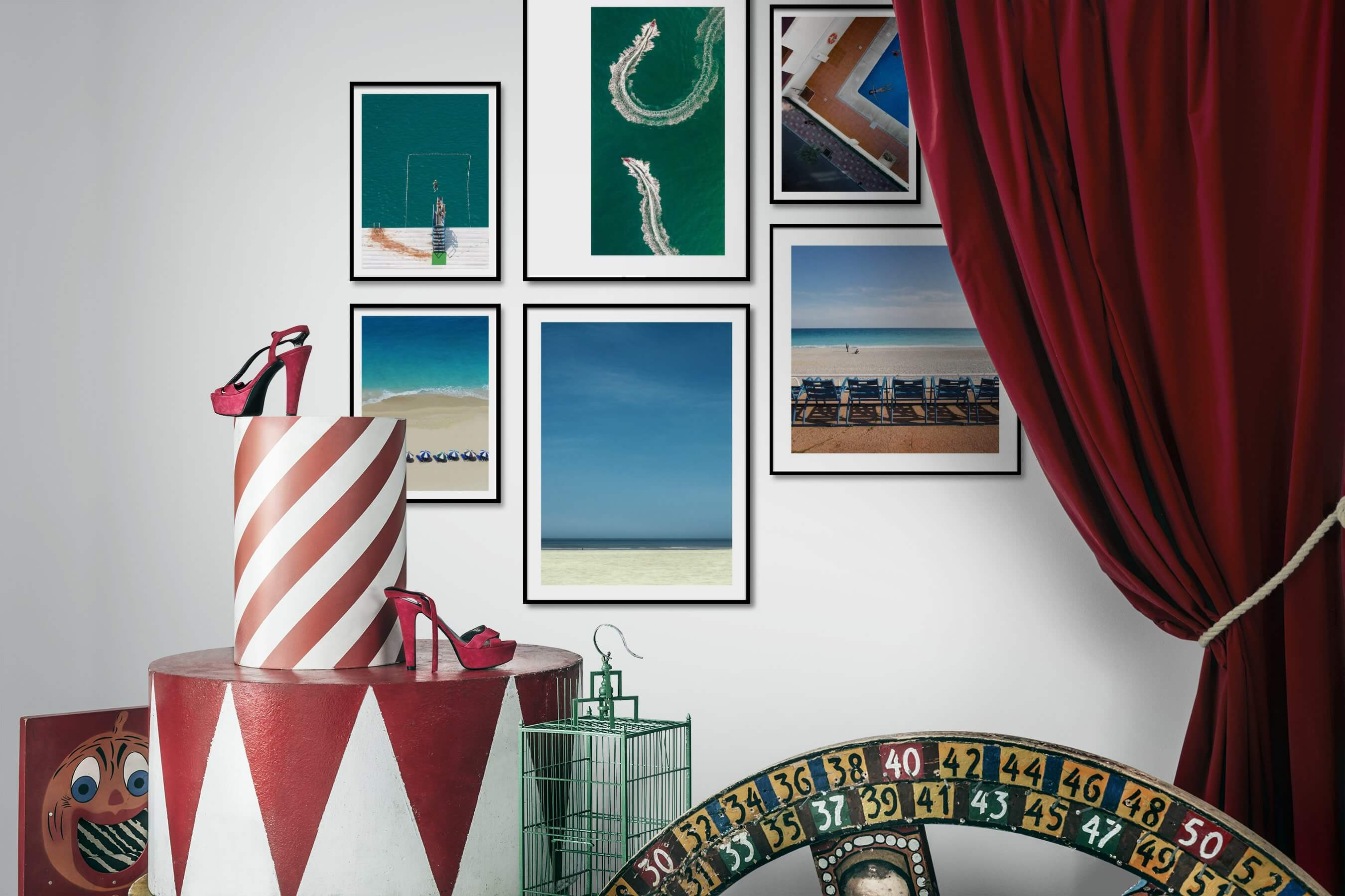 Gallery wall idea with six framed pictures arranged on a wall depicting Beach & Water, For the Minimalist, For the Moderate, and Vintage
