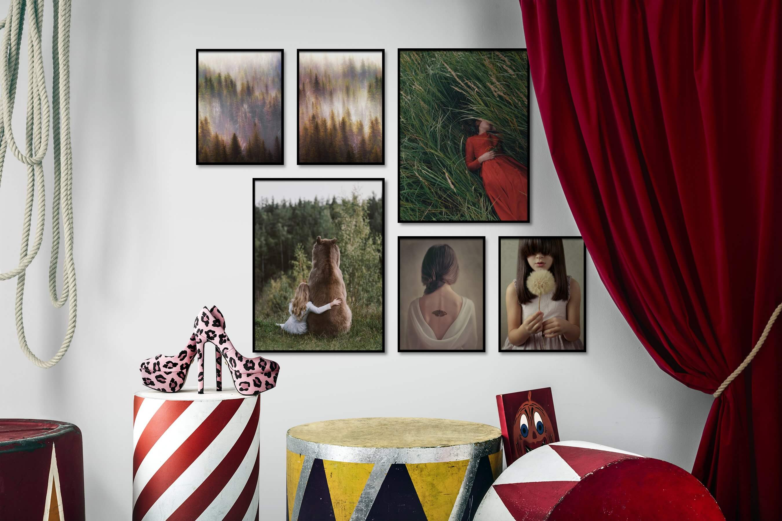 Gallery wall idea with six framed pictures arranged on a wall depicting For the Moderate, Nature, Mindfulness, Animals, Artsy, Country Life, and Fashion & Beauty