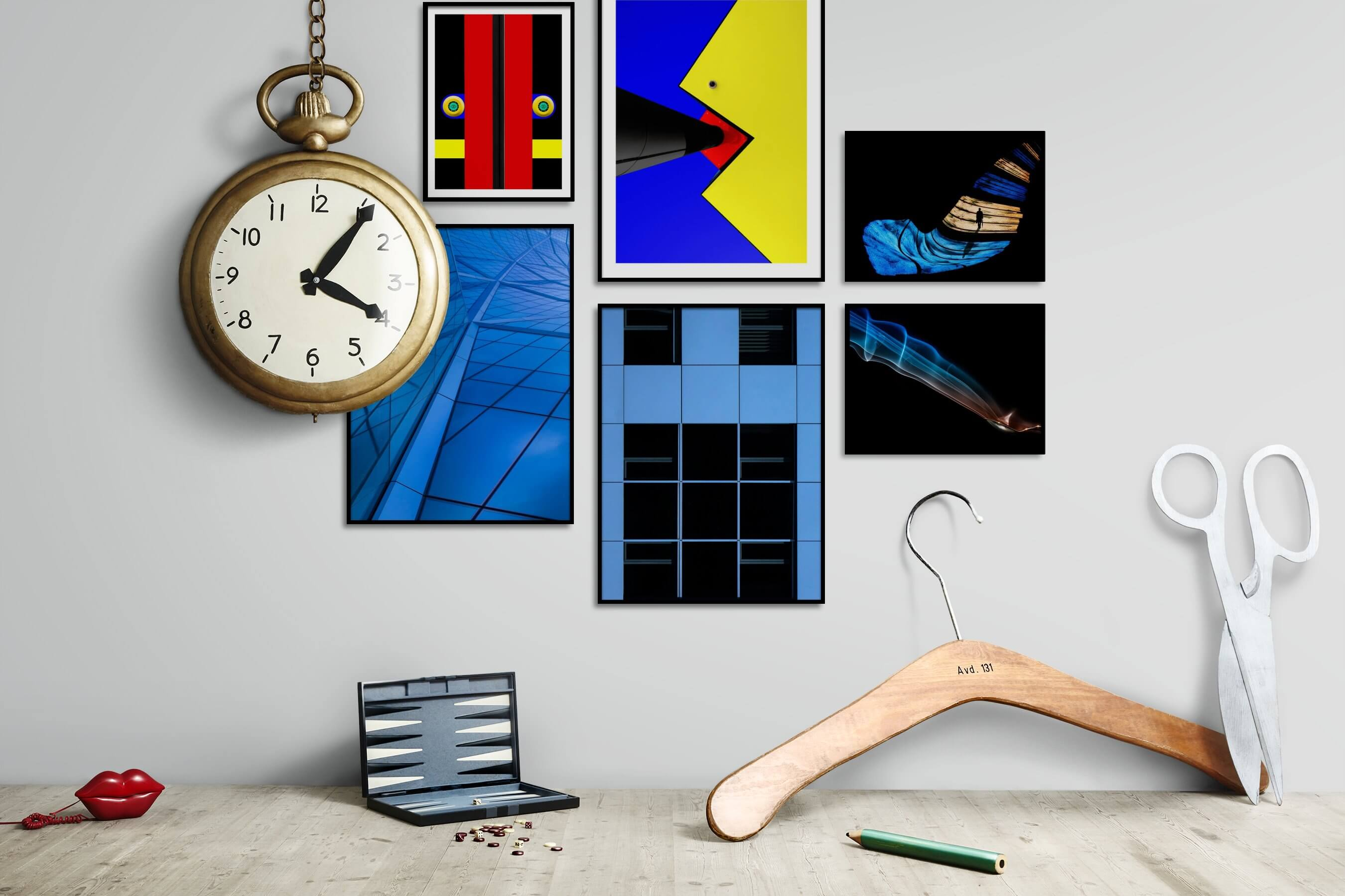 Gallery wall idea with six framed pictures arranged on a wall depicting Colorful, For the Moderate, Dark Tones, and For the Minimalist
