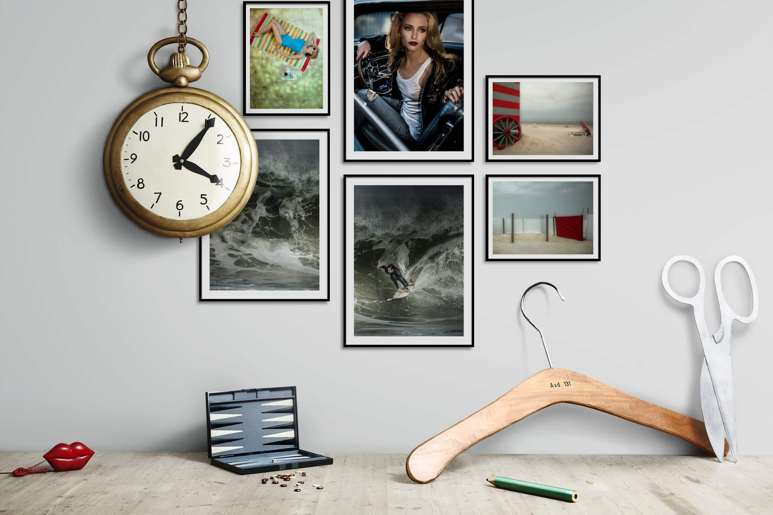 Gallery wall idea with six framed pictures arranged on a wall depicting Fashion & Beauty, Beach & Water, Vintage, and For the Moderate