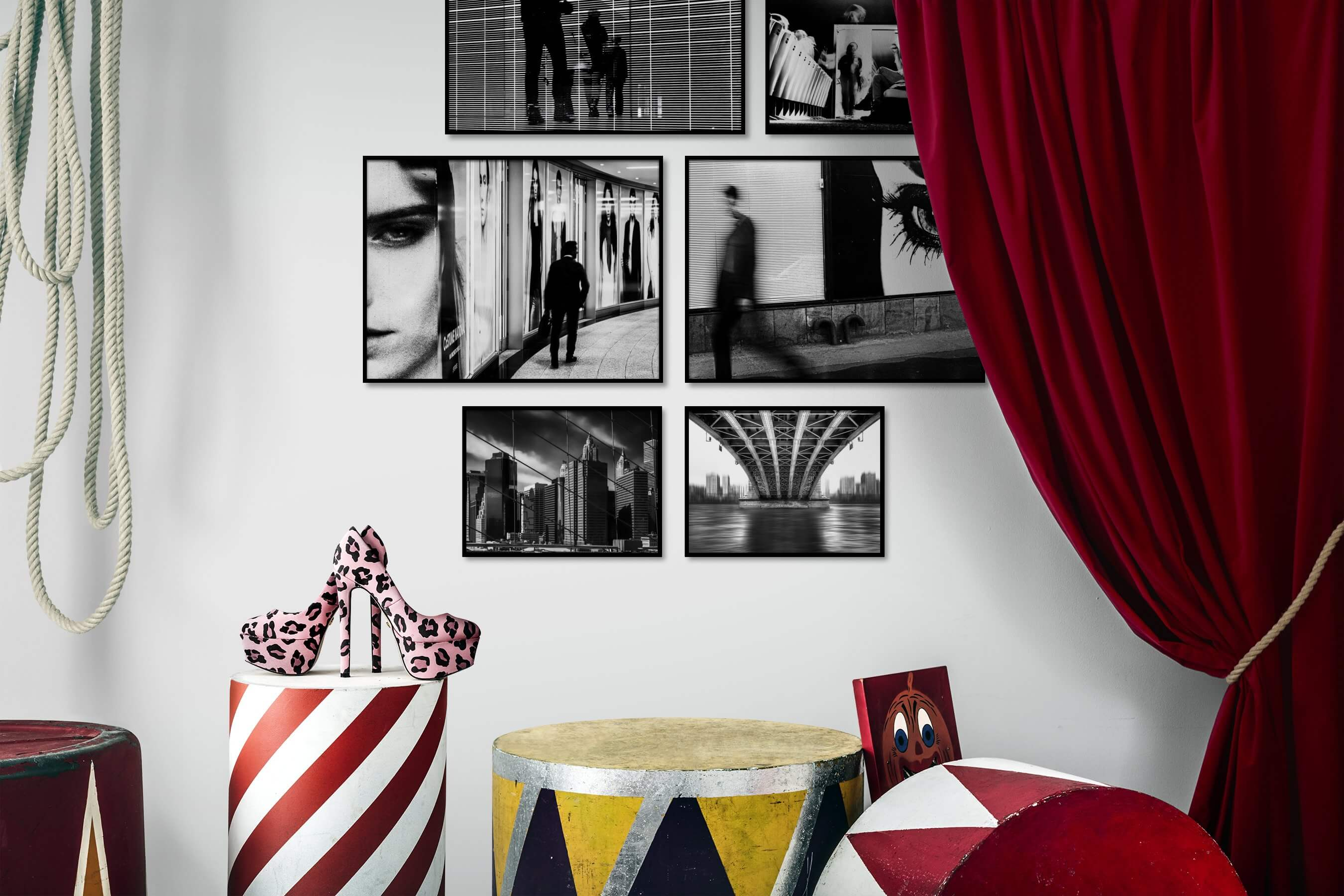 Gallery wall idea with six framed pictures arranged on a wall depicting Black & White, For the Maximalist, Artsy, City Life, Americana, and For the Moderate