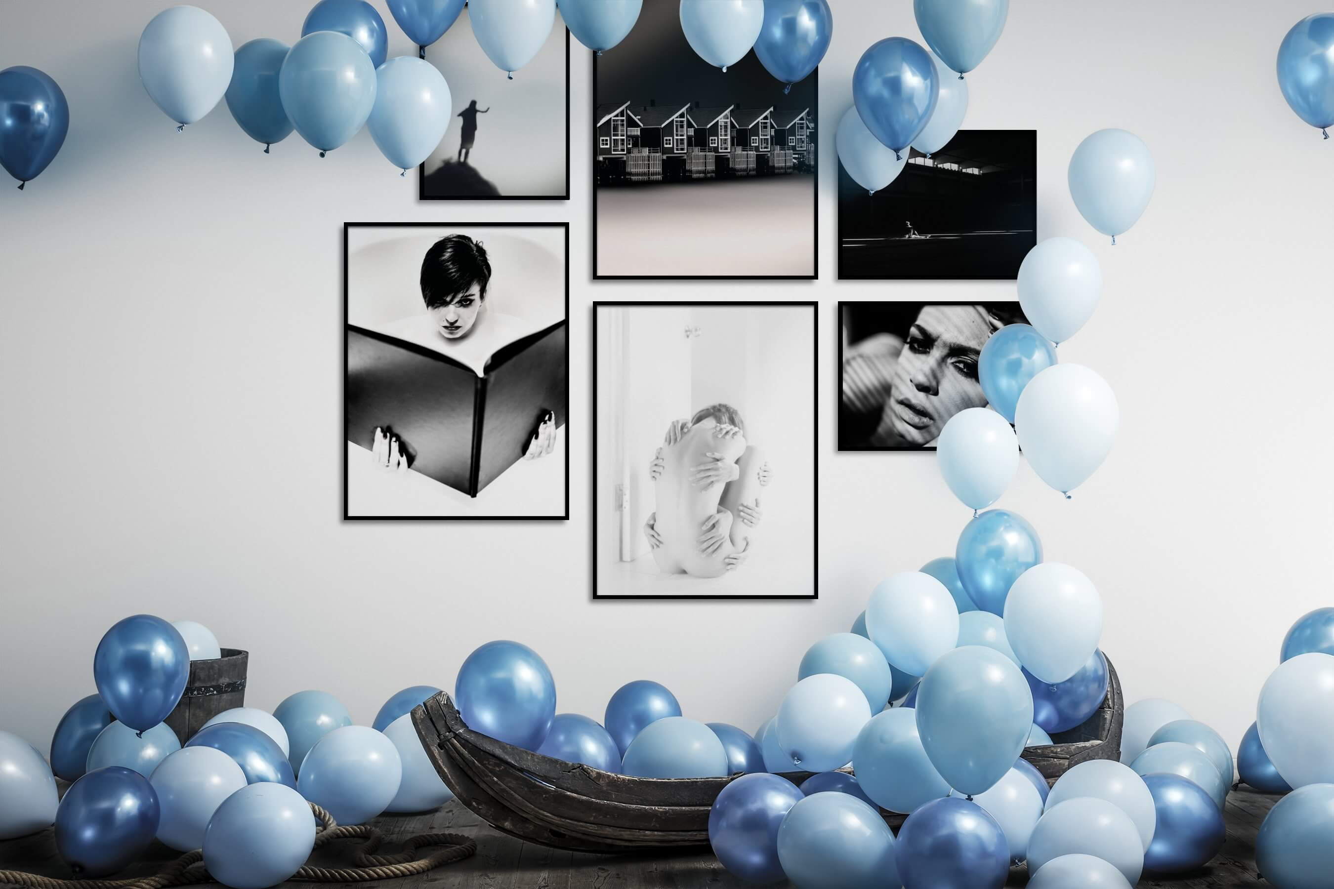 Gallery wall idea with six framed pictures arranged on a wall depicting Black & White, For the Minimalist, Artsy, Fashion & Beauty, and Dark Tones