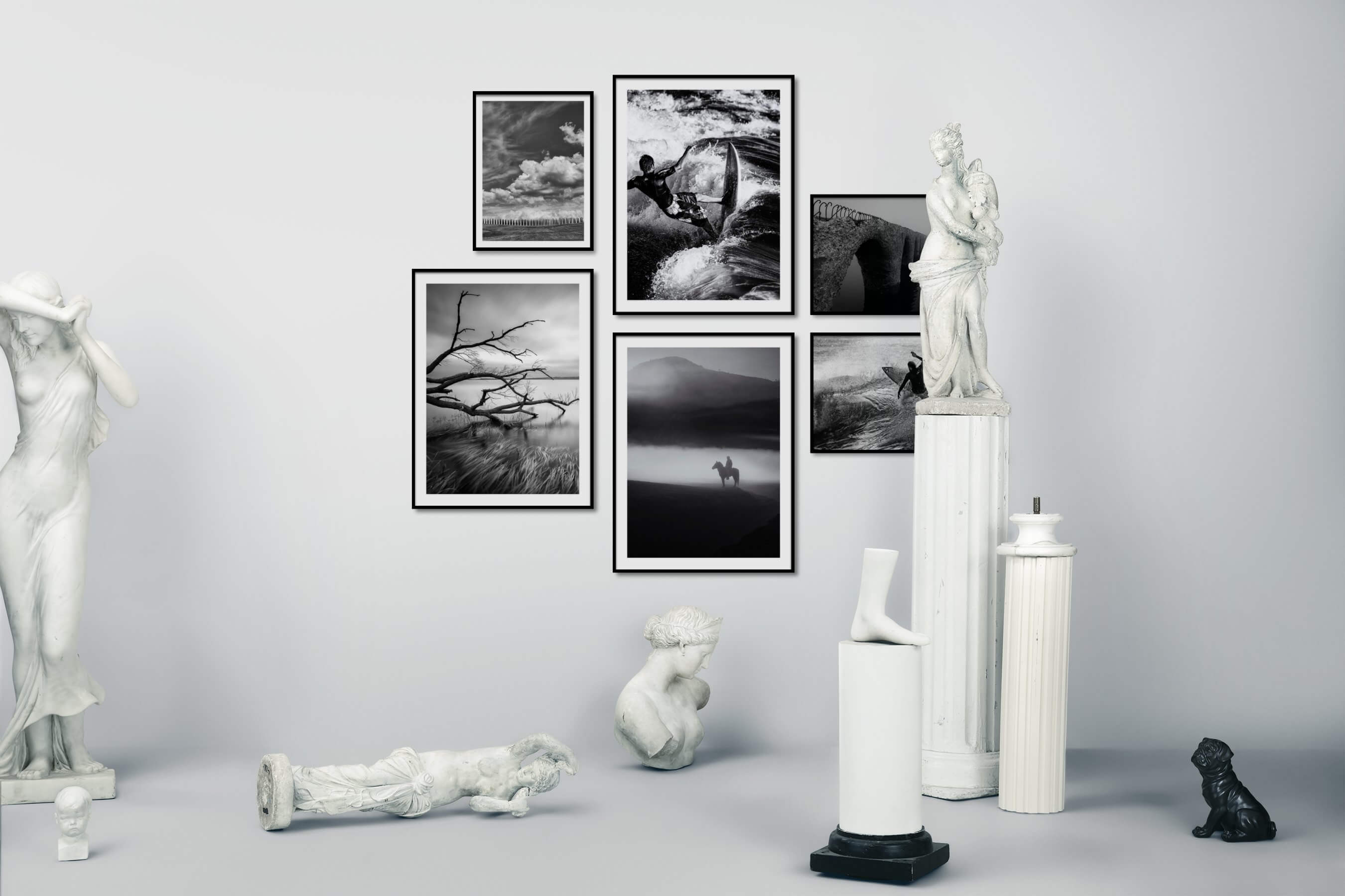 Gallery wall idea with six framed pictures arranged on a wall depicting Black & White, For the Moderate, Country Life, Beach & Water, Mindfulness, and Animals