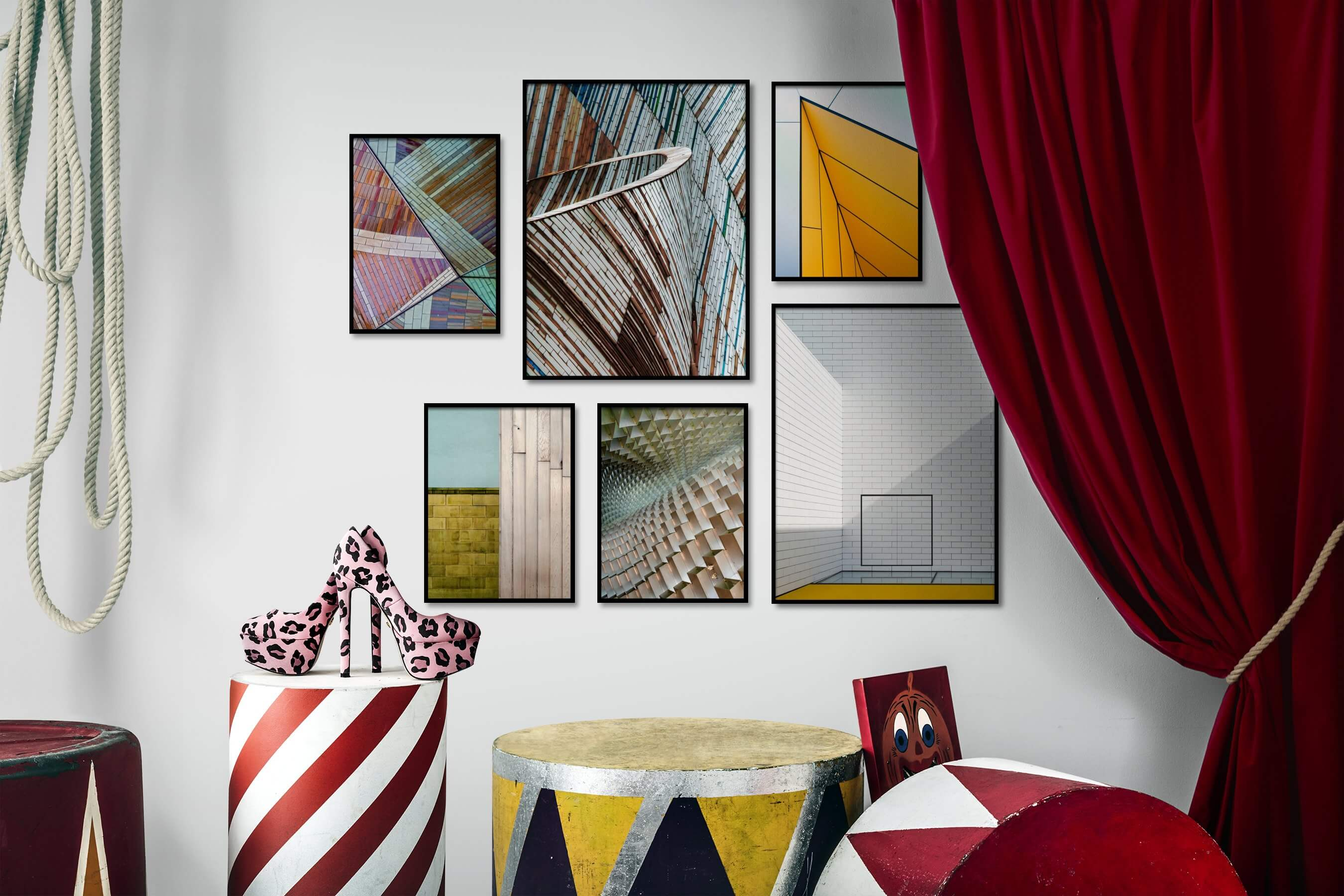 Gallery wall idea with six framed pictures arranged on a wall depicting Colorful, For the Maximalist, For the Moderate, Vintage, and For the Minimalist