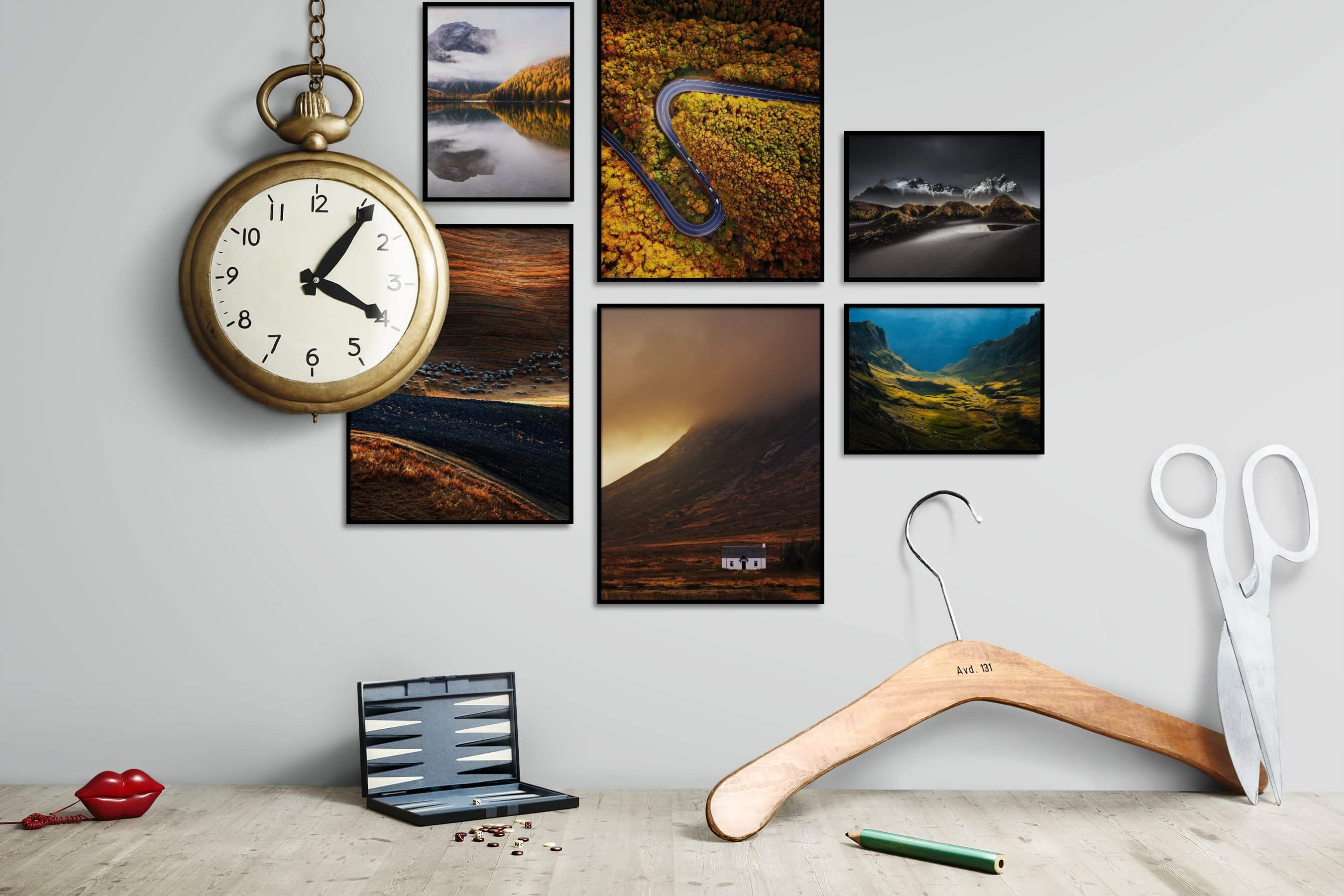 Gallery wall idea with six framed pictures arranged on a wall depicting Nature, For the Maximalist, For the Moderate, and Country Life
