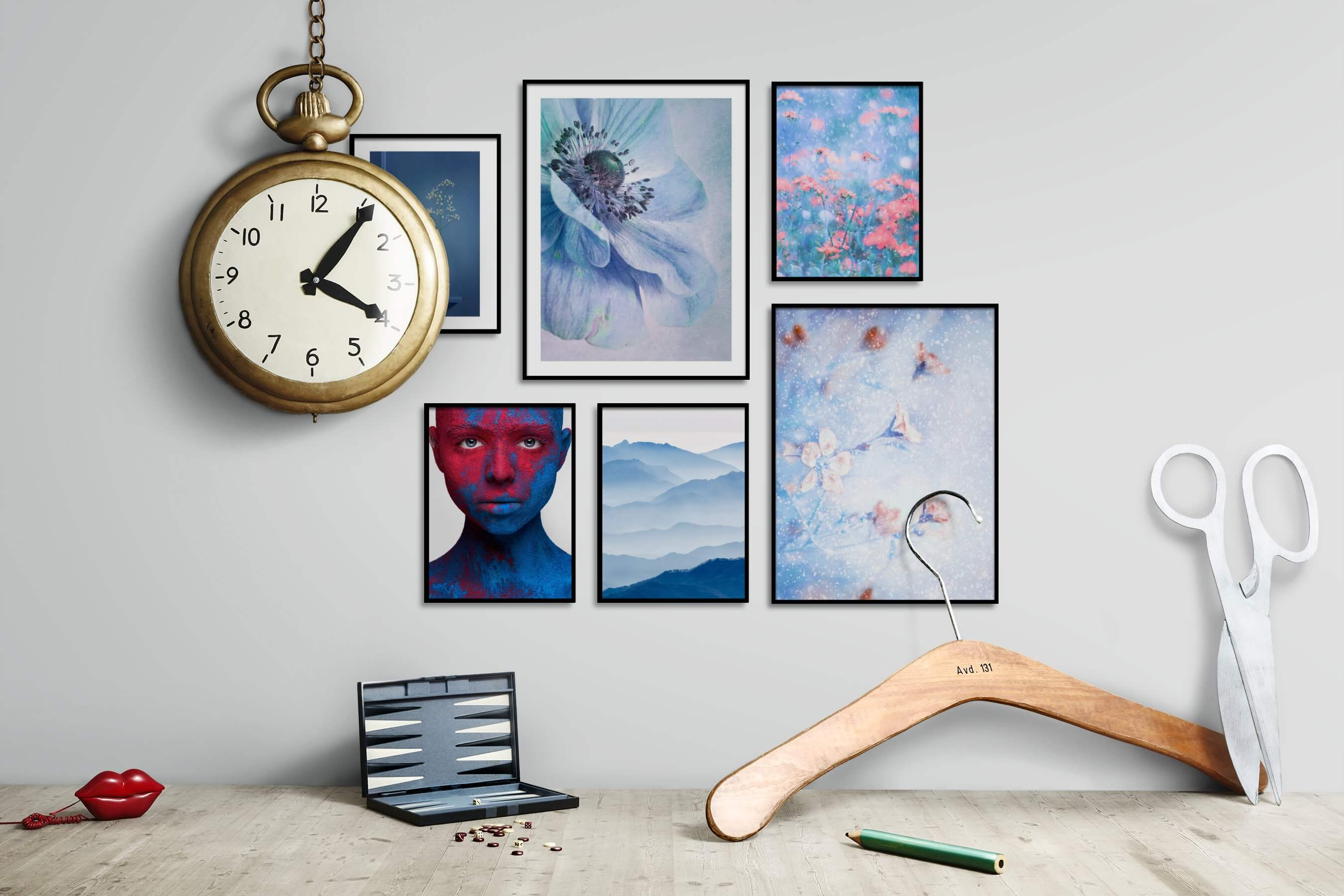 Gallery wall idea with six framed pictures arranged on a wall depicting For the Moderate, Flowers & Plants, Artsy, Colorful, Nature, and Mindfulness