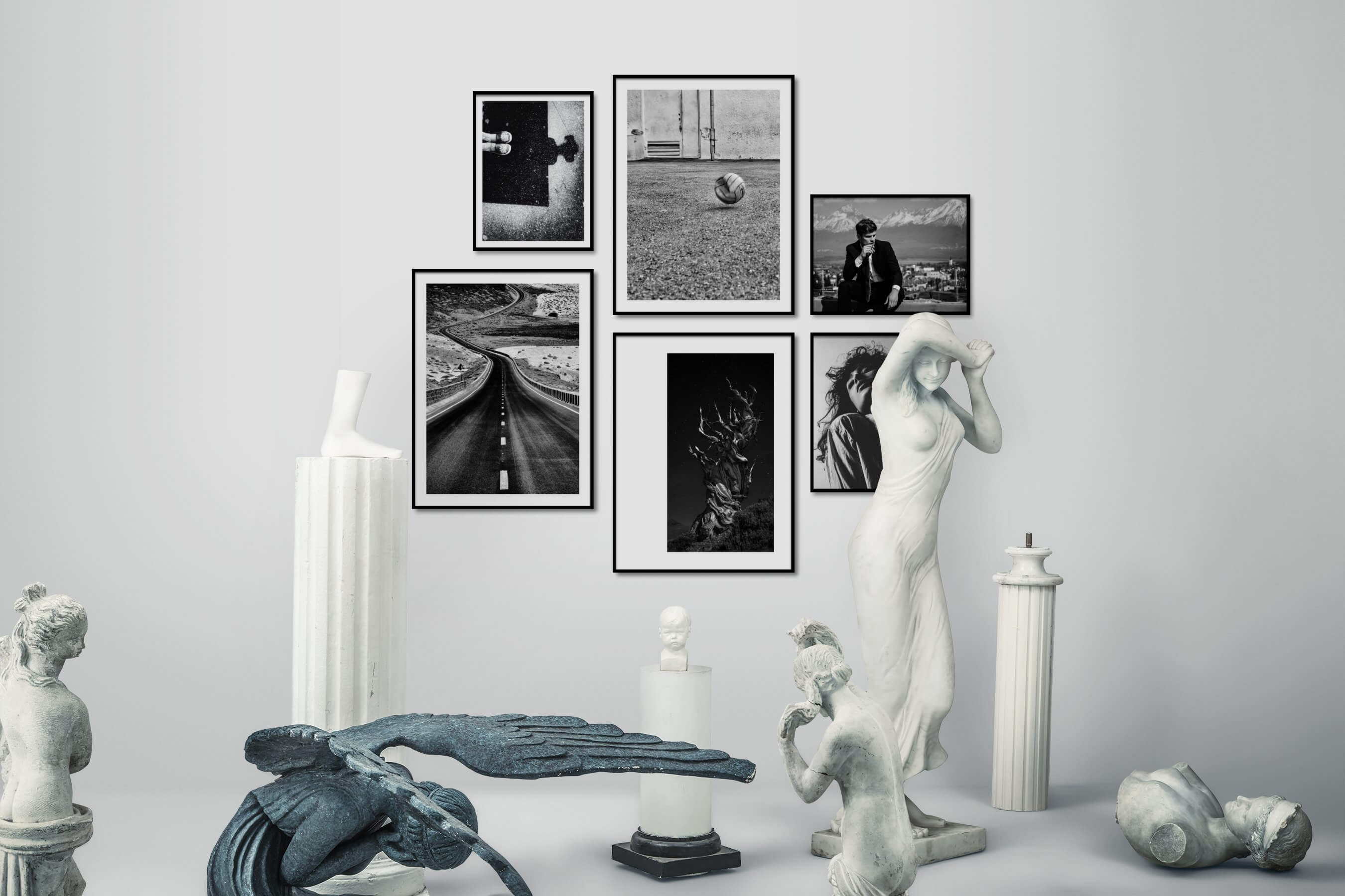 Gallery wall idea with six framed pictures arranged on a wall depicting Artsy, Black & White, City Life, For the Moderate, Country Life, Mindfulness, Nature, Fashion & Beauty, and Vintage