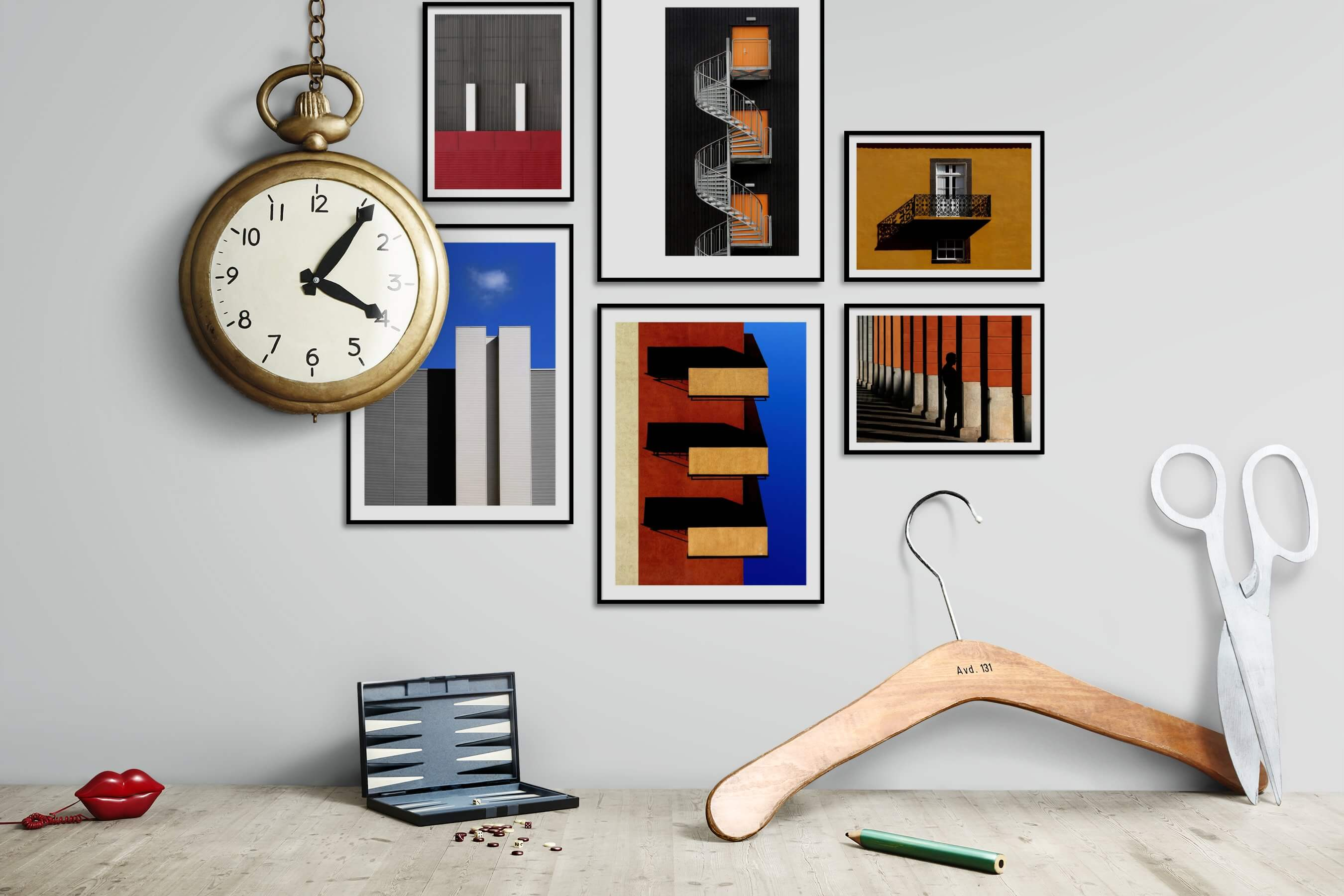 Gallery wall idea with six framed pictures arranged on a wall depicting For the Moderate, City Life, and For the Minimalist