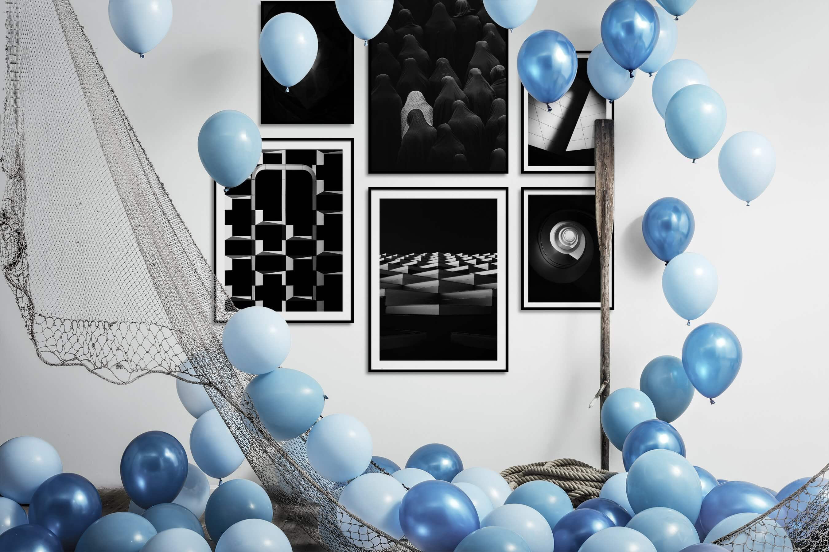 Gallery wall idea with six framed pictures arranged on a wall depicting Fashion & Beauty, Black & White, Dark Tones, For the Minimalist, For the Moderate, and For the Maximalist
