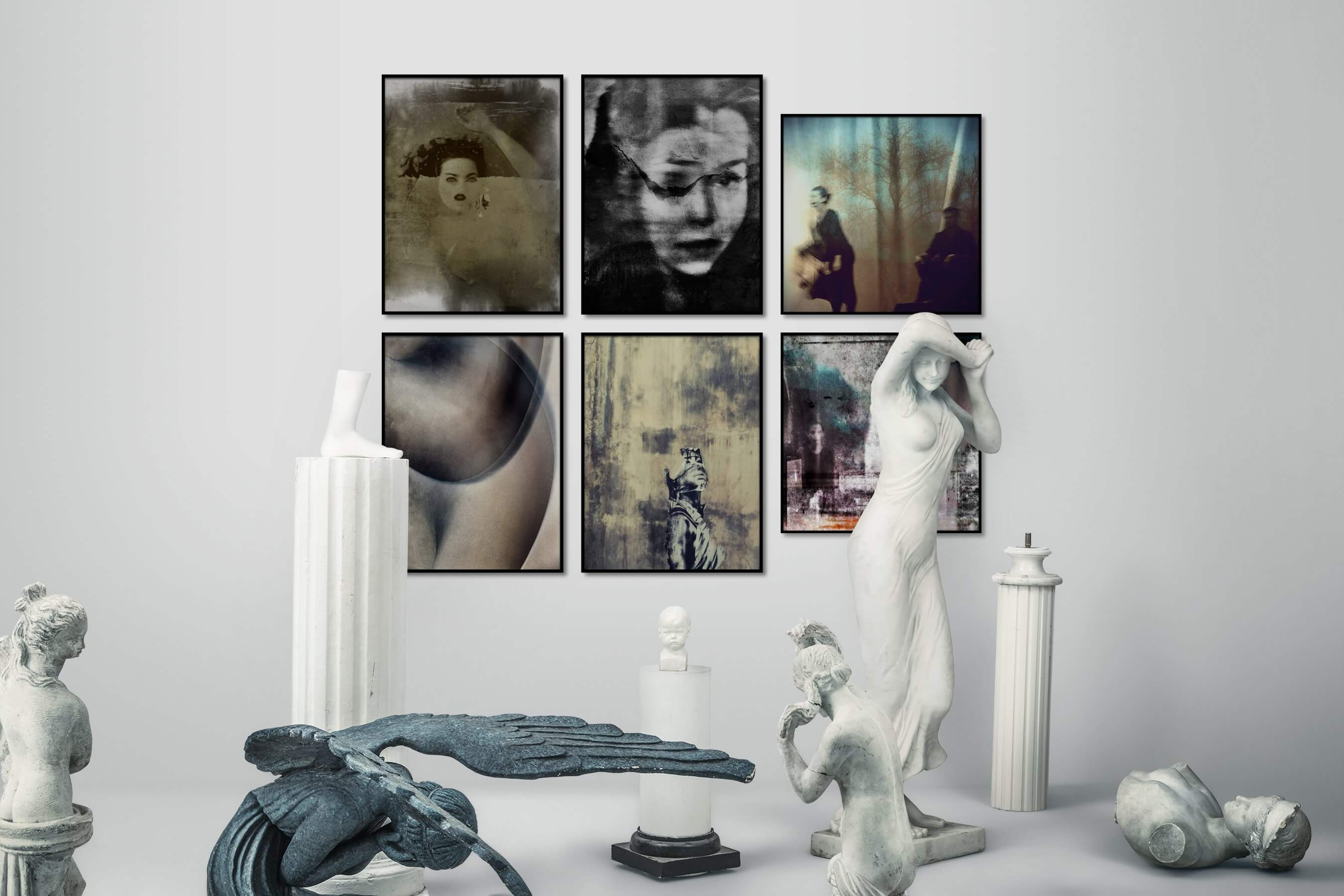 Gallery wall idea with six framed pictures arranged on a wall depicting Artsy, Black & White, For the Moderate, and Vintage