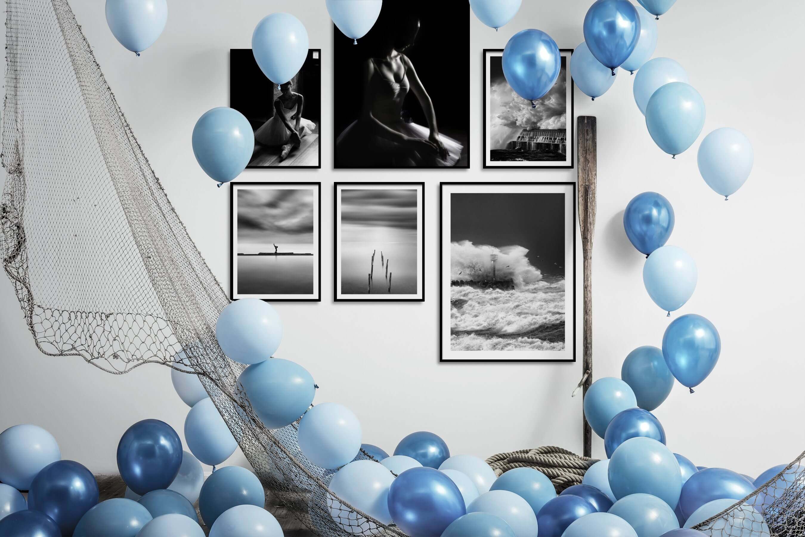 Gallery wall idea with six framed pictures arranged on a wall depicting Fashion & Beauty, Black & White, Dark Tones, For the Minimalist, Beach & Water, and Mindfulness