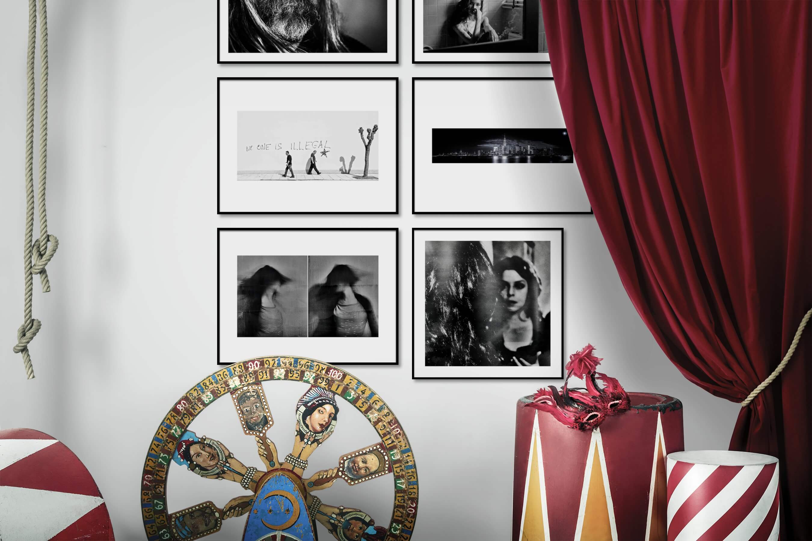 Gallery wall idea with six framed pictures arranged on a wall depicting Artsy, Black & White, Fashion & Beauty, For the Minimalist, City Life, and Americana