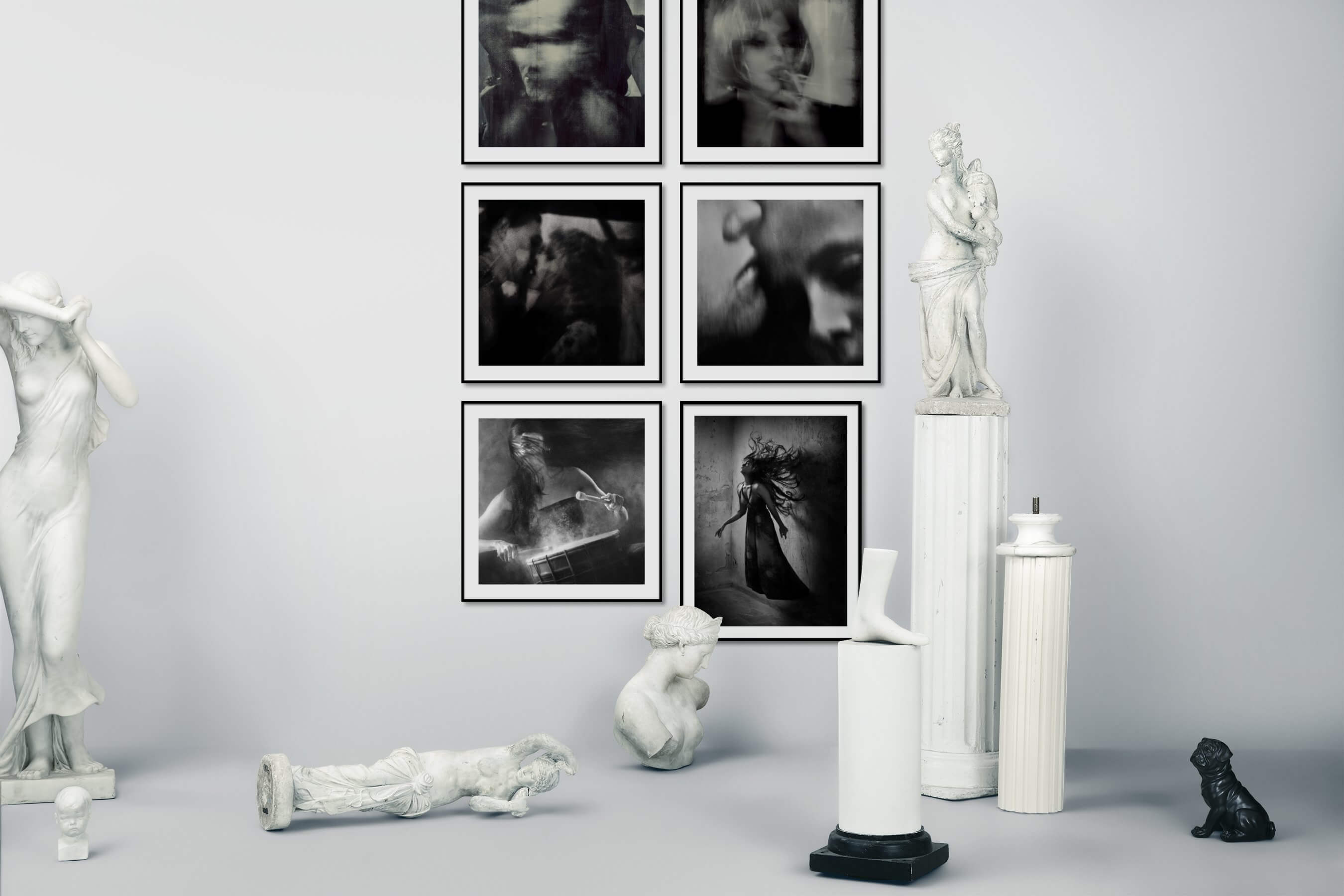 Gallery wall idea with six framed pictures arranged on a wall depicting Artsy, Black & White, Fashion & Beauty, and Vintage