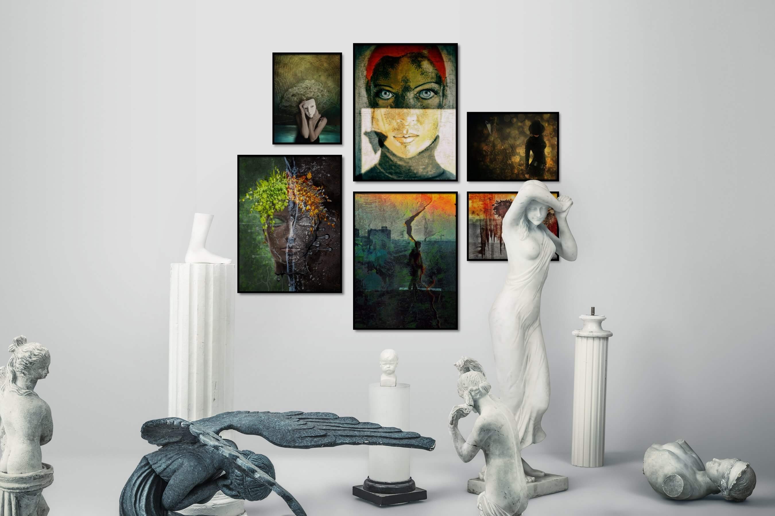 Gallery wall idea with six framed pictures arranged on a wall depicting Artsy and Fashion & Beauty