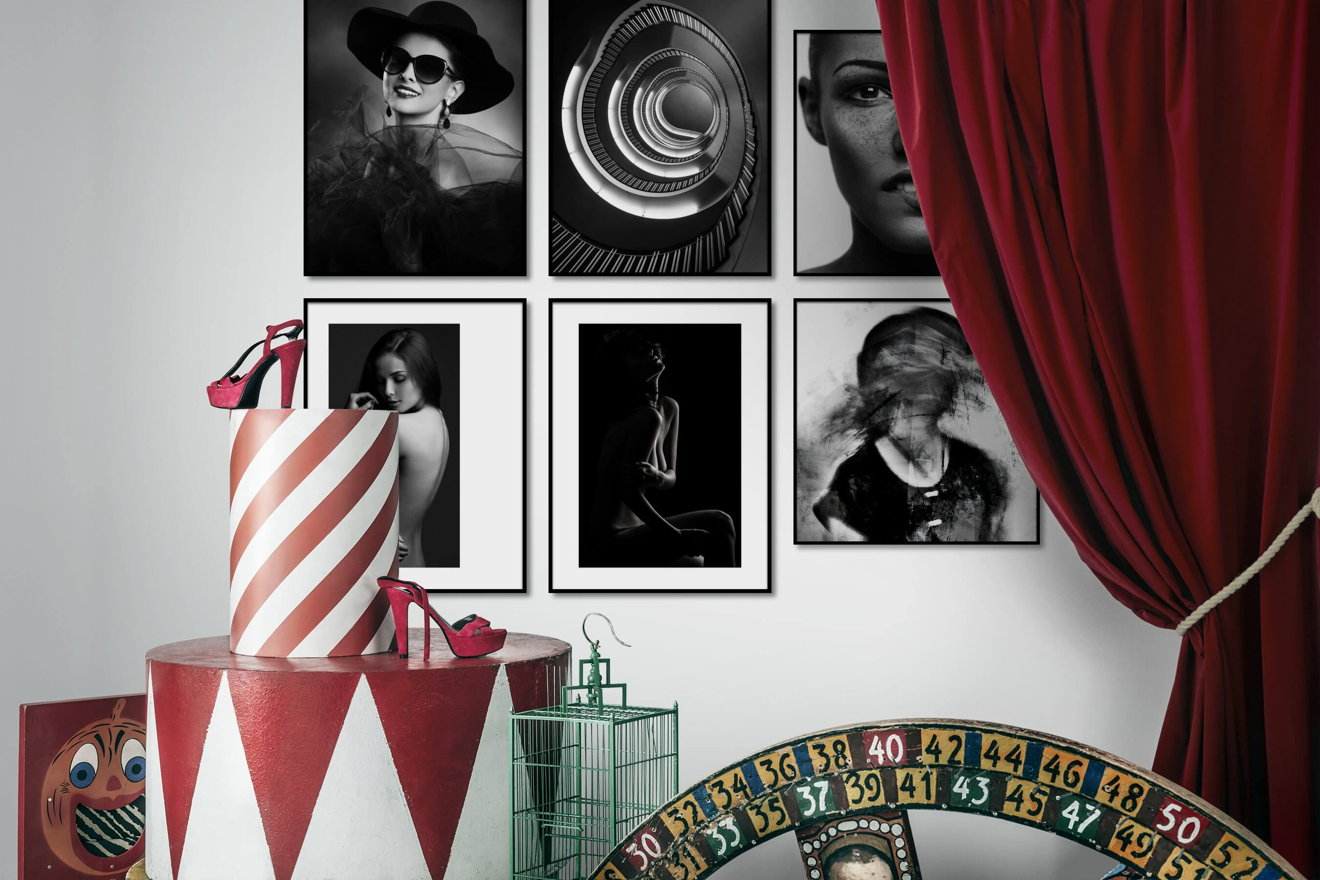 Gallery wall idea with six framed pictures arranged on a wall depicting Fashion & Beauty, Black & White, For the Moderate, For the Minimalist, and Artsy