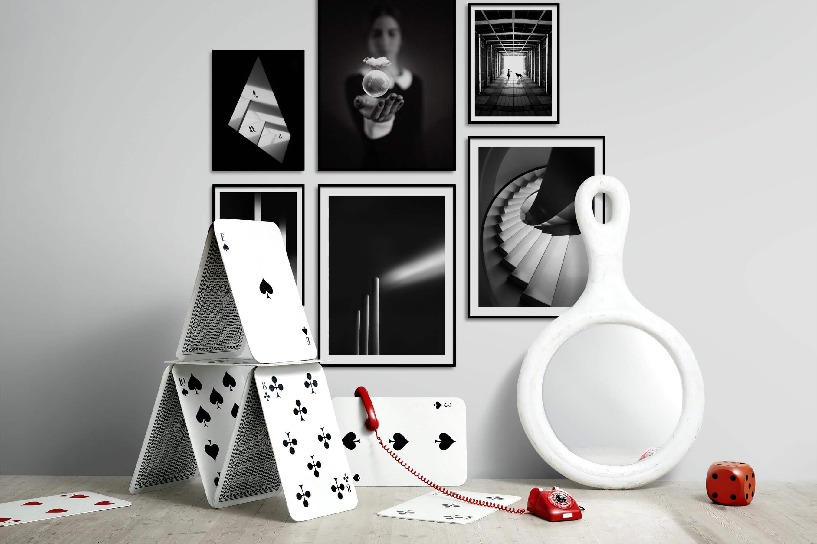 Gallery wall idea with six framed pictures arranged on a wall depicting Black & White, Dark Tones, For the Minimalist, Artsy, For the Moderate, and Animals