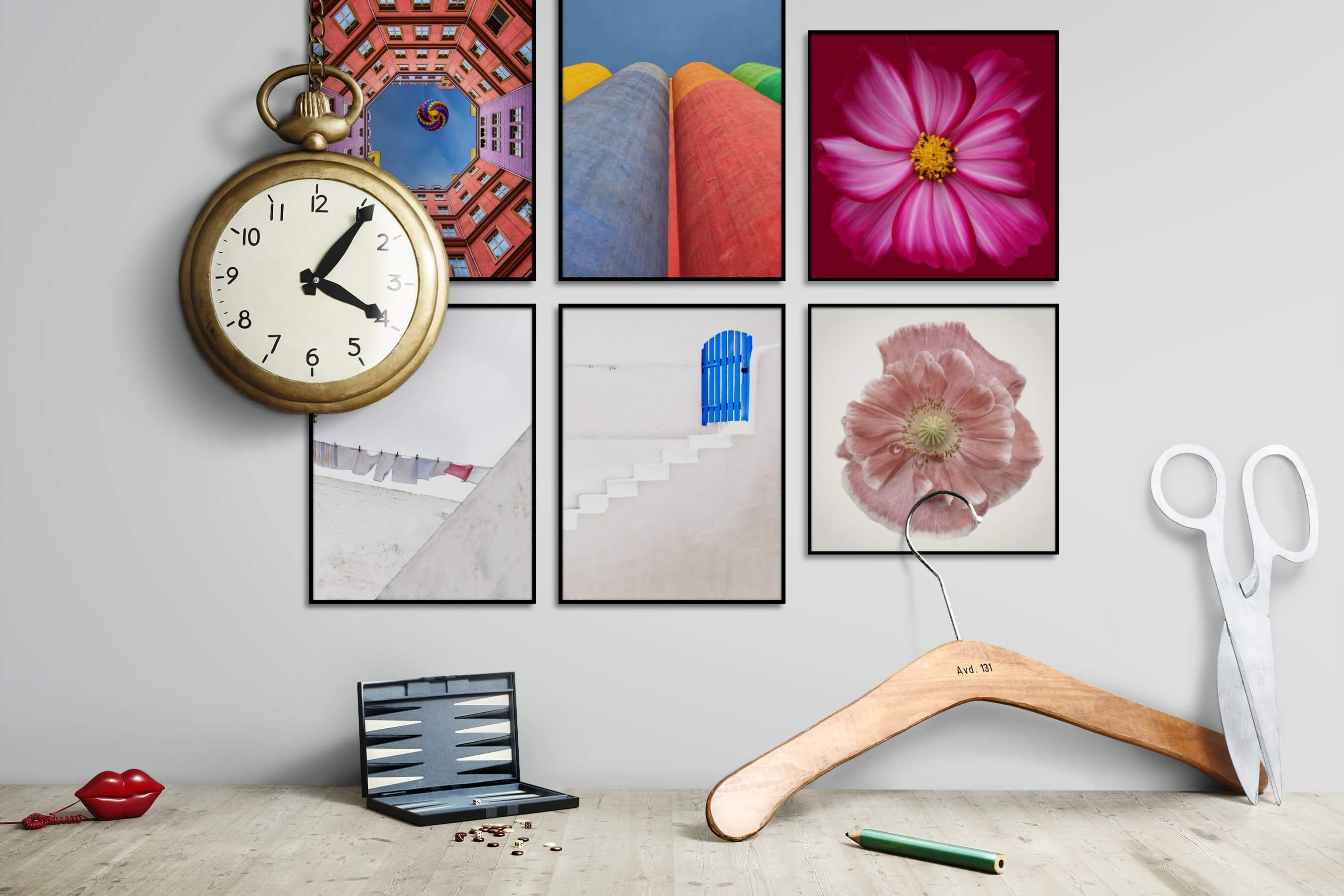Gallery wall idea with six framed pictures arranged on a wall depicting Colorful, For the Moderate, City Life, For the Minimalist, Flowers & Plants, and Vintage