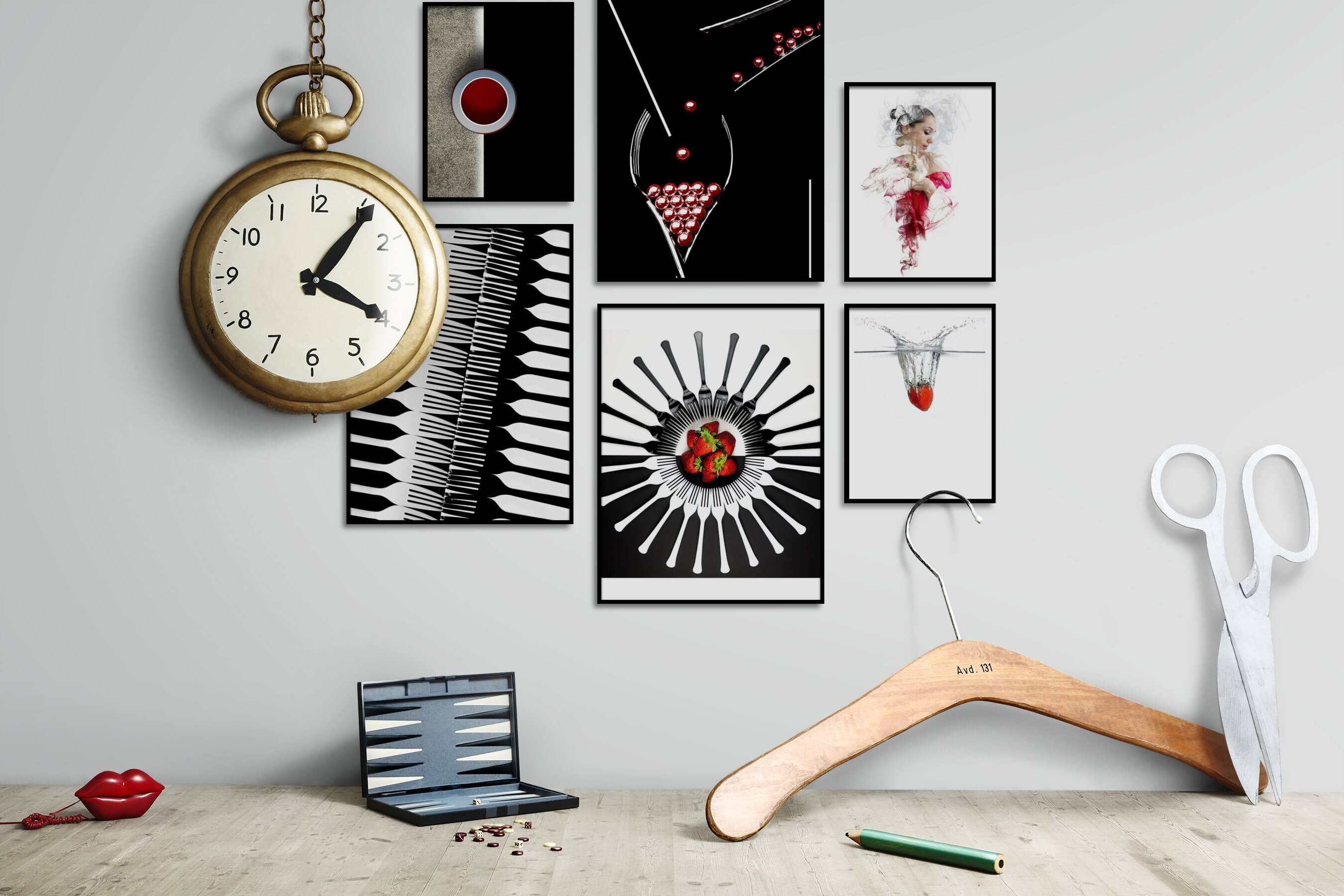 Gallery wall idea with six framed pictures arranged on a wall depicting For the Minimalist, Dark Tones, For the Moderate, Black & White, For the Maximalist, Fashion & Beauty, Bright Tones, and Beach & Water
