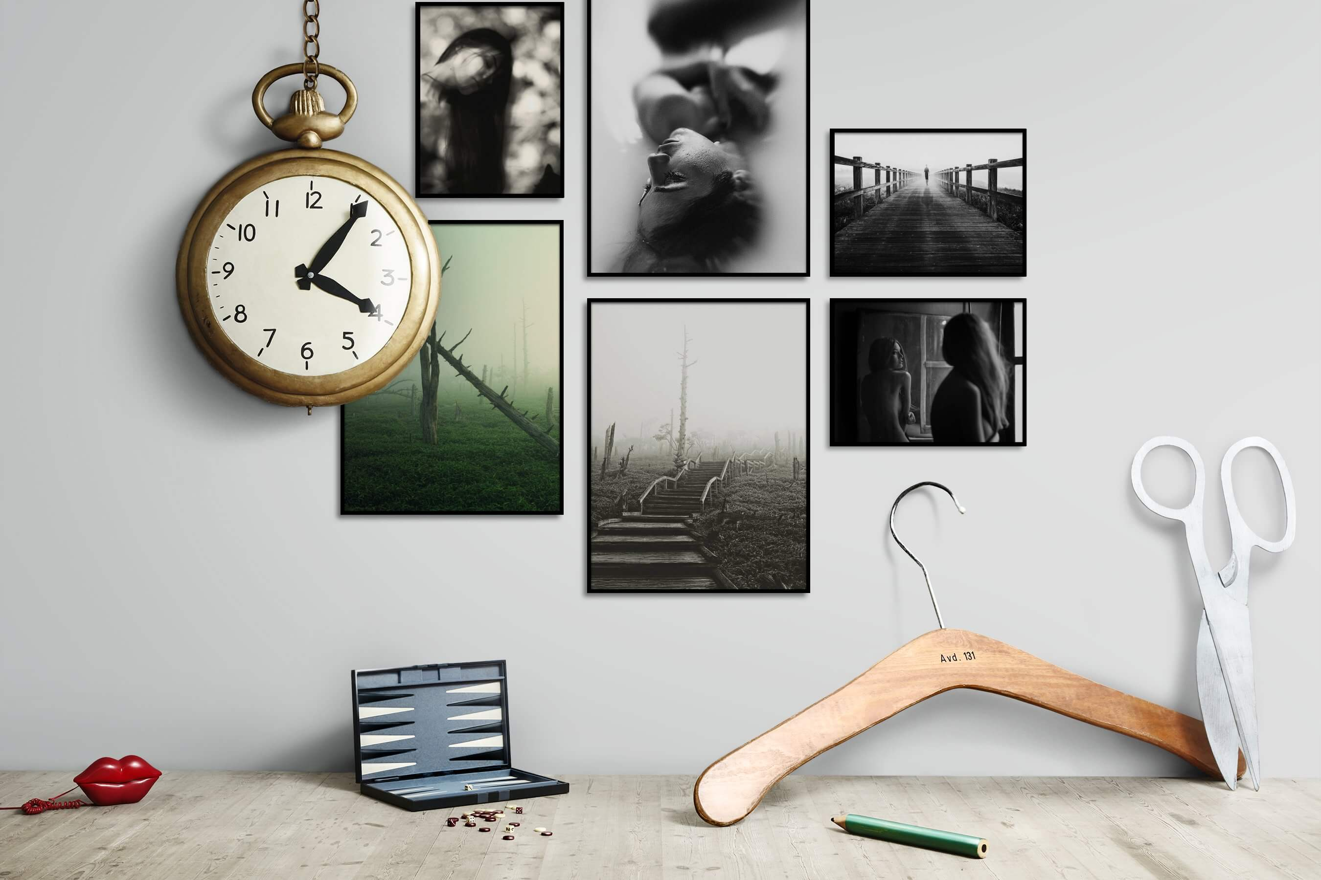 Gallery wall idea with six framed pictures arranged on a wall depicting Fashion & Beauty, Black & White, For the Moderate, Nature, Mindfulness, and Country Life