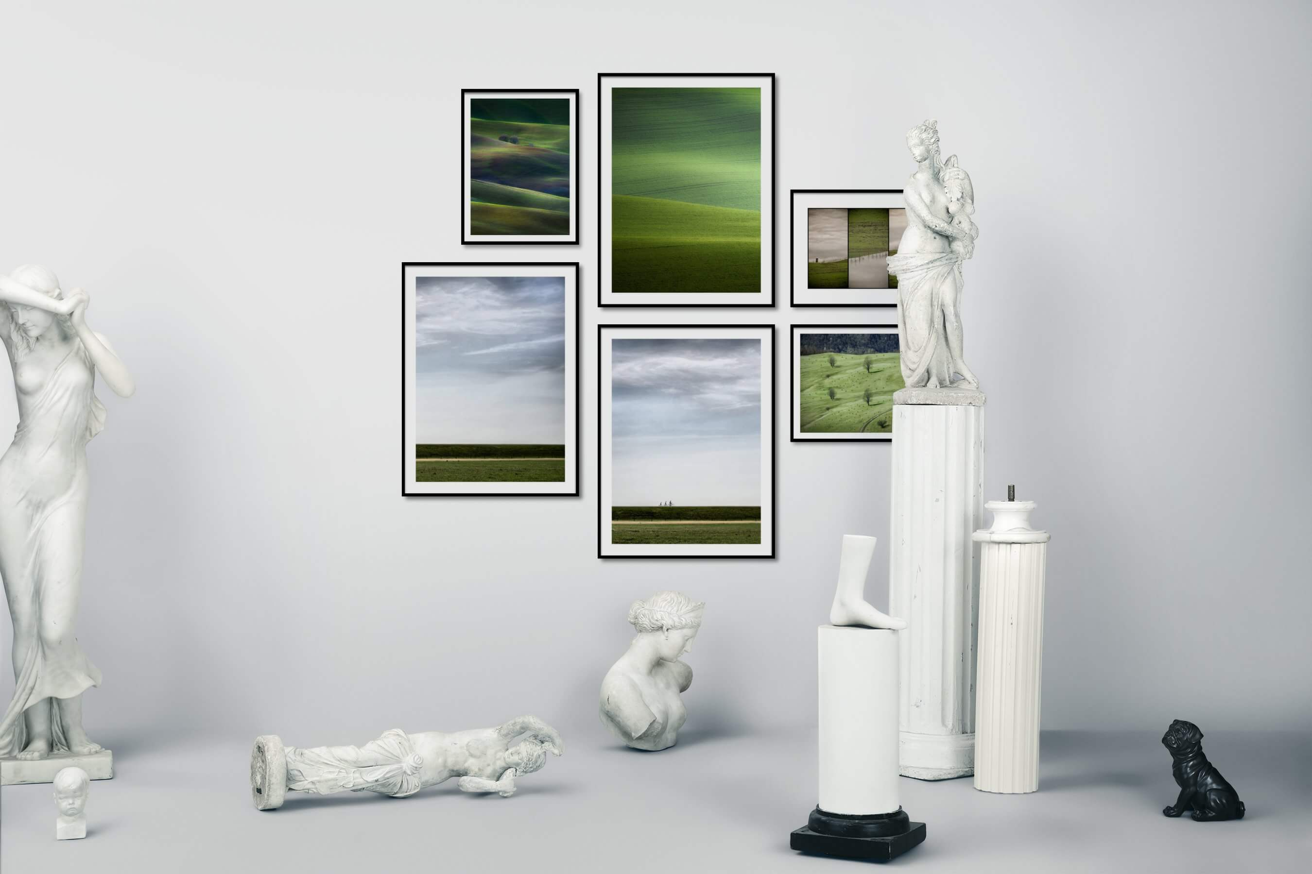 Gallery wall idea with six framed pictures arranged on a wall depicting For the Moderate, Country Life, and For the Minimalist