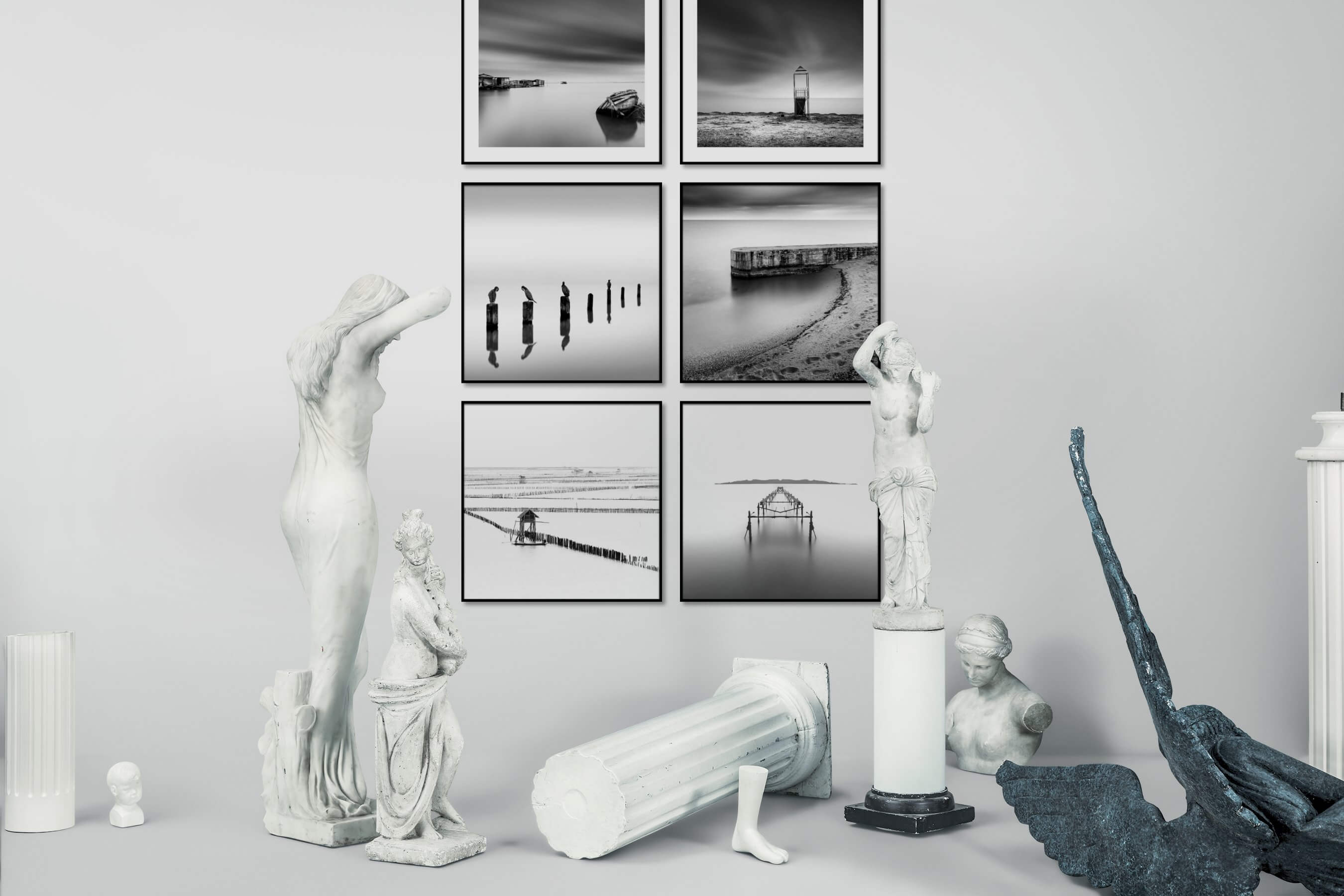Gallery wall idea with six framed pictures arranged on a wall depicting Black & White, Beach & Water, Mindfulness, For the Minimalist, Animals, For the Moderate, Bright Tones, and Country Life