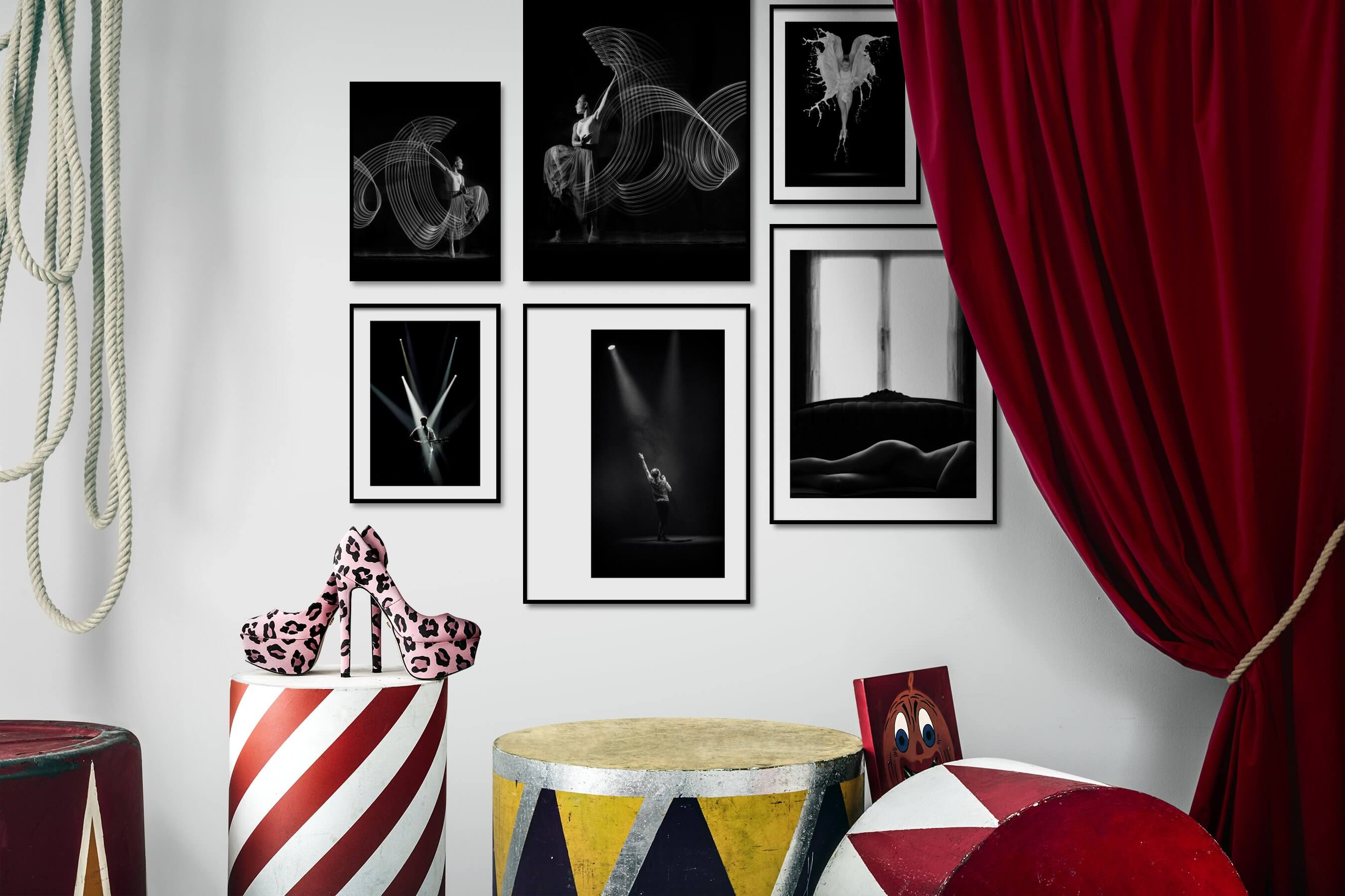 Gallery wall idea with six framed pictures arranged on a wall depicting Black & White, Dark Tones, For the Moderate, Fashion & Beauty, and For the Minimalist