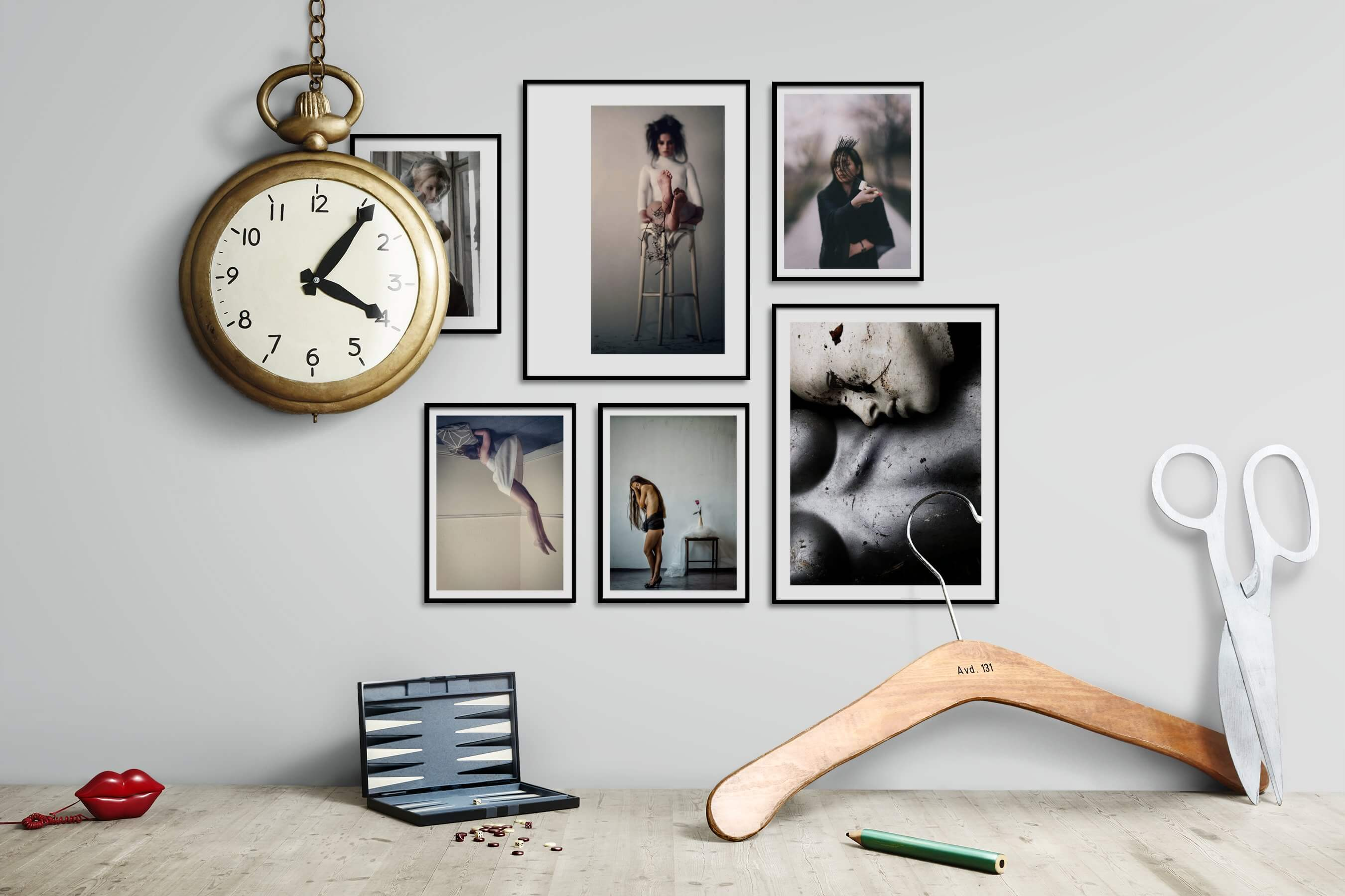 Gallery wall idea with six framed pictures arranged on a wall depicting Artsy, Fashion & Beauty, For the Moderate, and Vintage