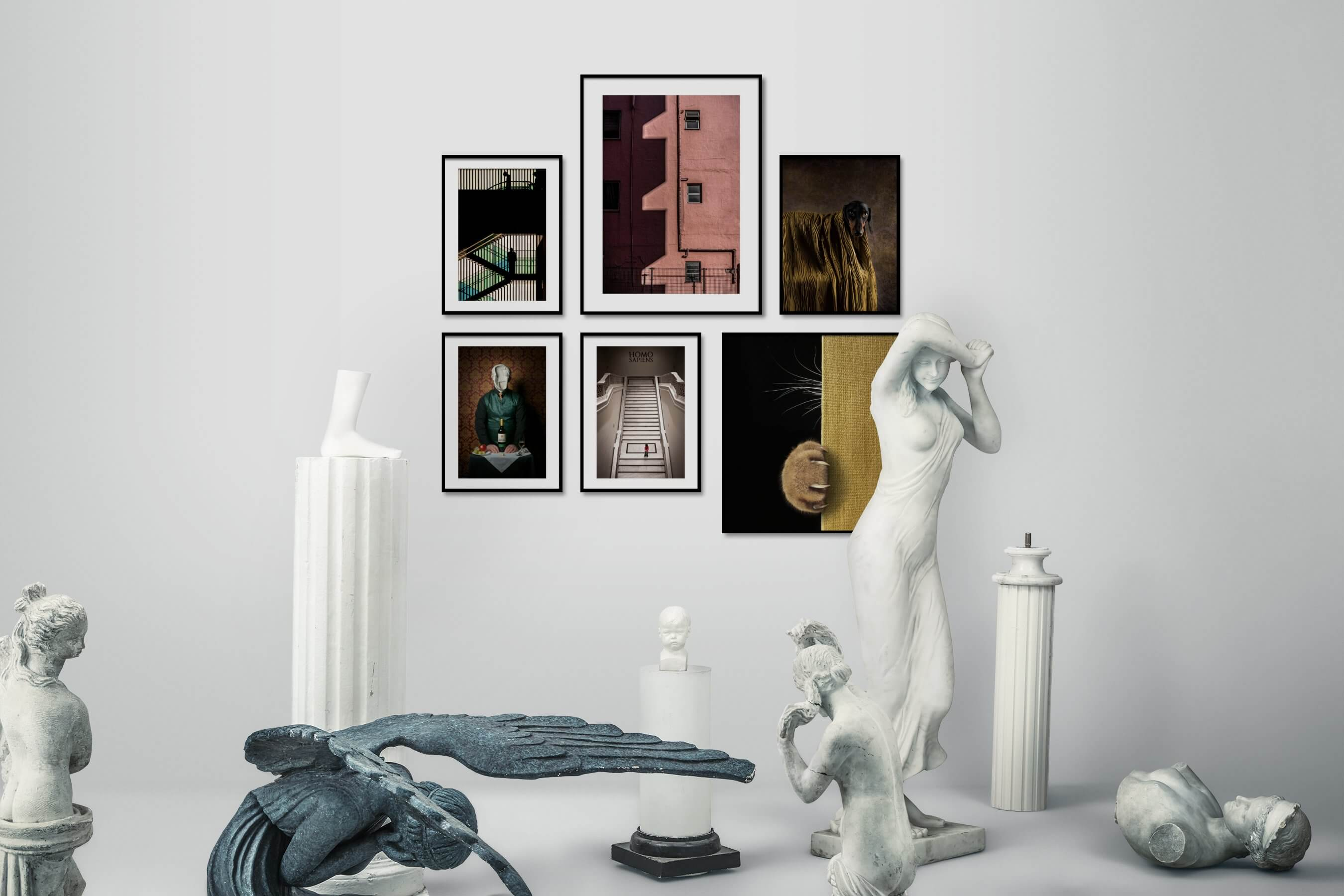 Gallery wall idea with six framed pictures arranged on a wall depicting For the Maximalist, City Life, For the Moderate, Artsy, and Animals