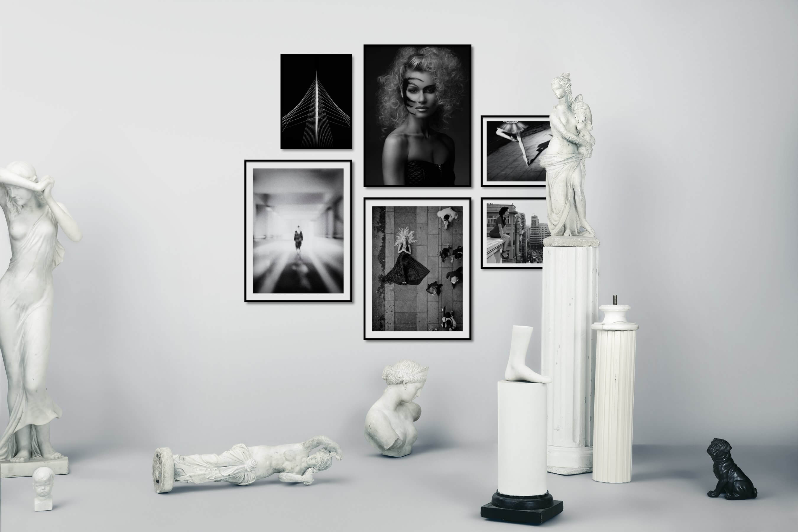 Gallery wall idea with six framed pictures arranged on a wall depicting Black & White, Dark Tones, For the Minimalist, Fashion & Beauty, Artsy, City Life, and Vintage