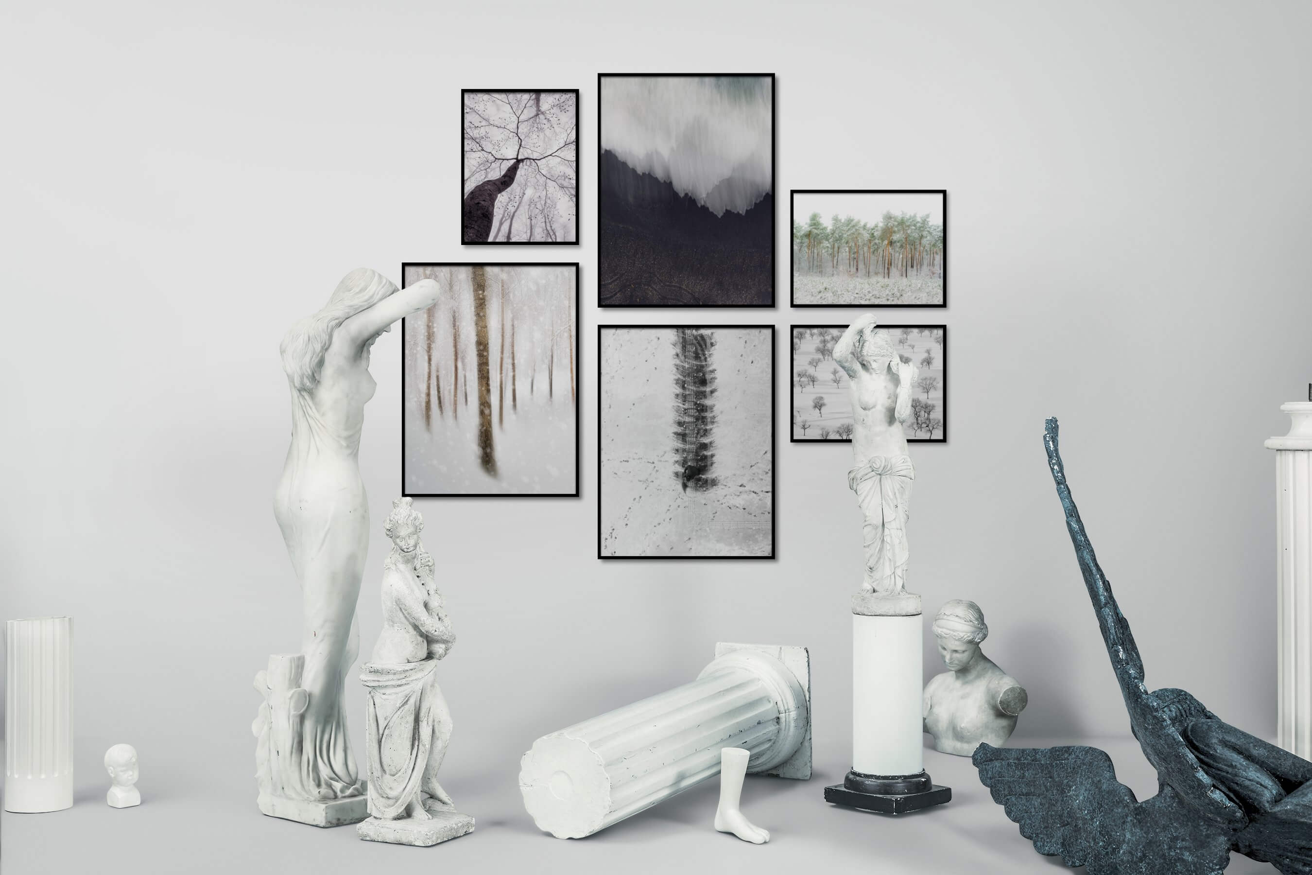 Gallery wall idea with six framed pictures arranged on a wall depicting For the Moderate, Nature, For the Minimalist, Beach & Water, Black & White, Bright Tones, and Mindfulness