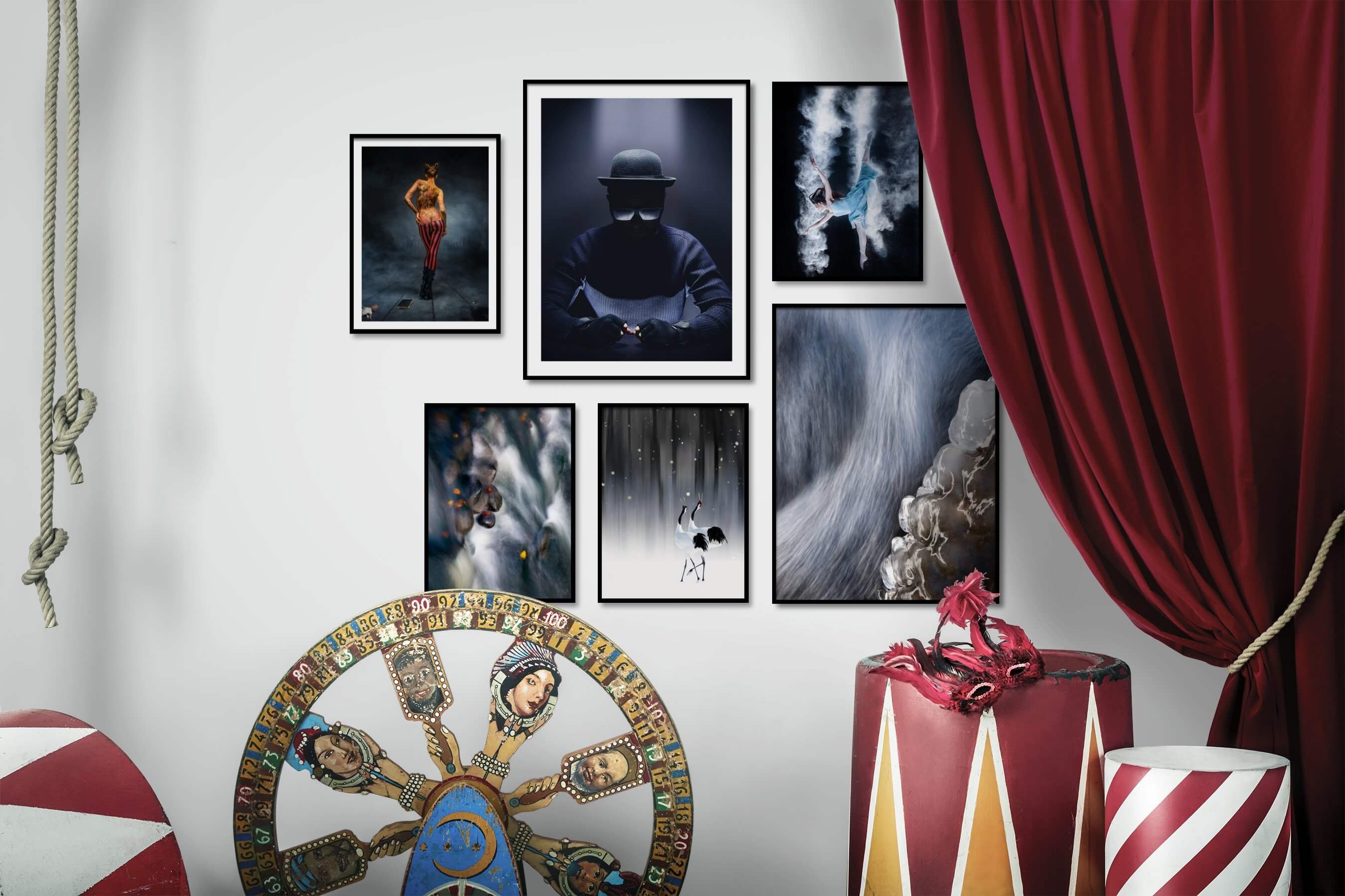 Gallery wall idea with six framed pictures arranged on a wall depicting Fashion & Beauty, For the Moderate, Nature, and Animals