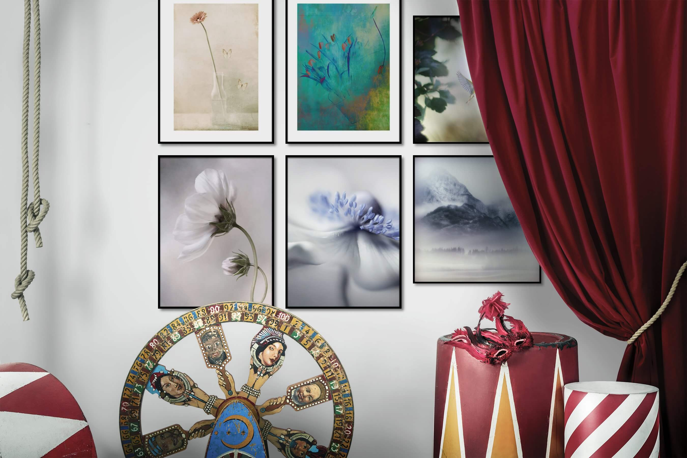 Gallery wall idea with six framed pictures arranged on a wall depicting Flowers & Plants, Vintage, For the Moderate, For the Minimalist, Animals, and Nature