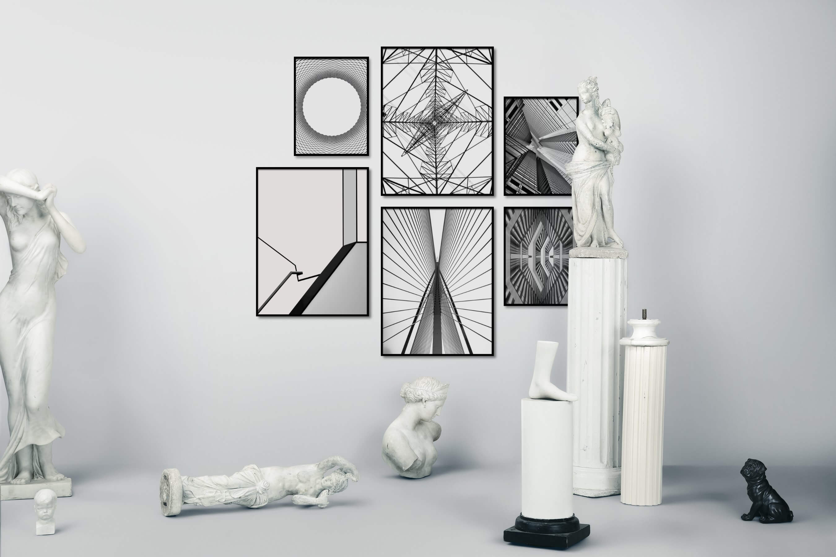 Gallery wall idea with six framed pictures arranged on a wall depicting Black & White, For the Minimalist, For the Maximalist, For the Moderate, and City Life