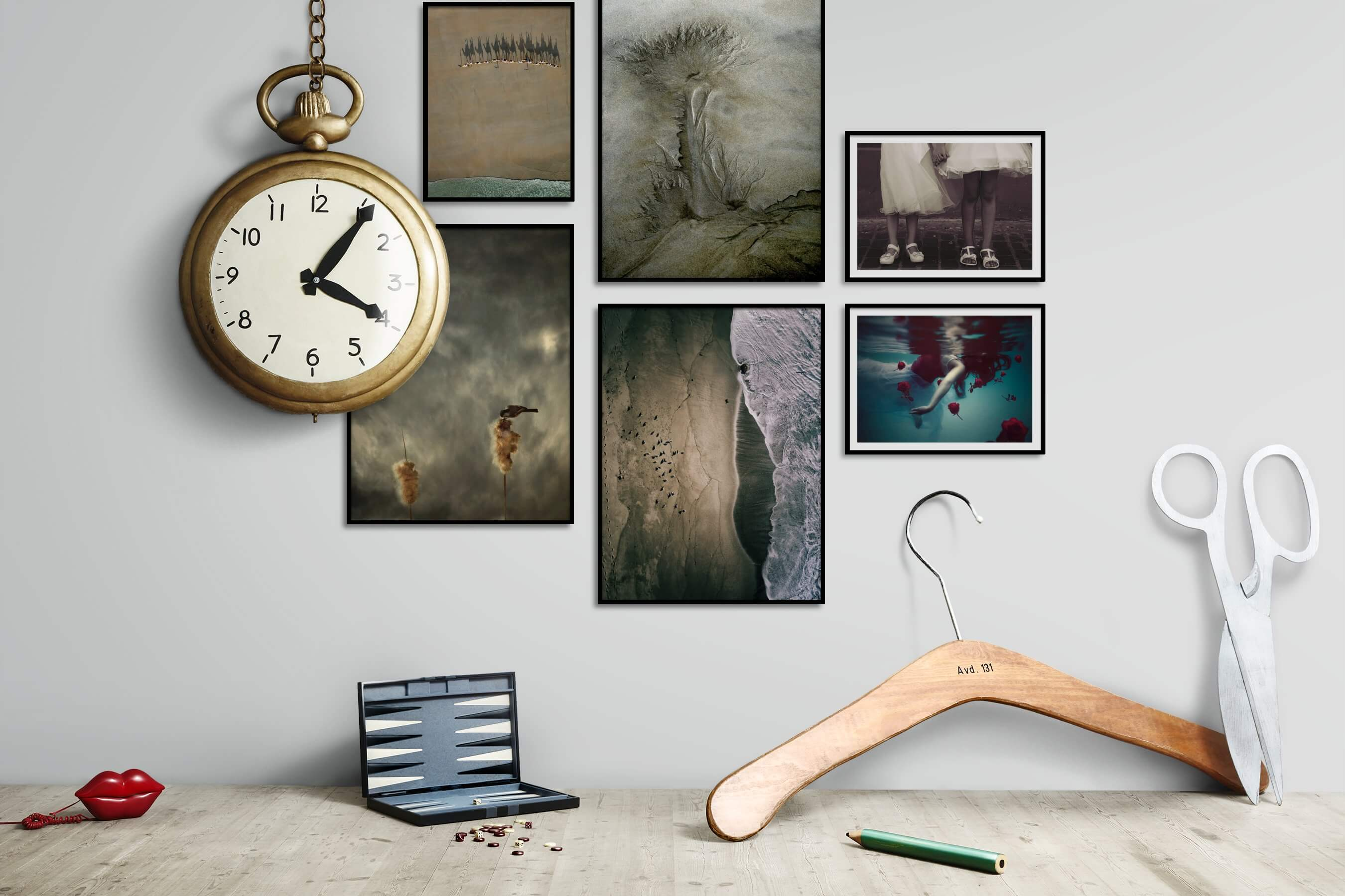 Gallery wall idea with six framed pictures arranged on a wall depicting For the Minimalist, Animals, Beach & Water, Nature, For the Moderate, Fashion & Beauty, and Flowers & Plants