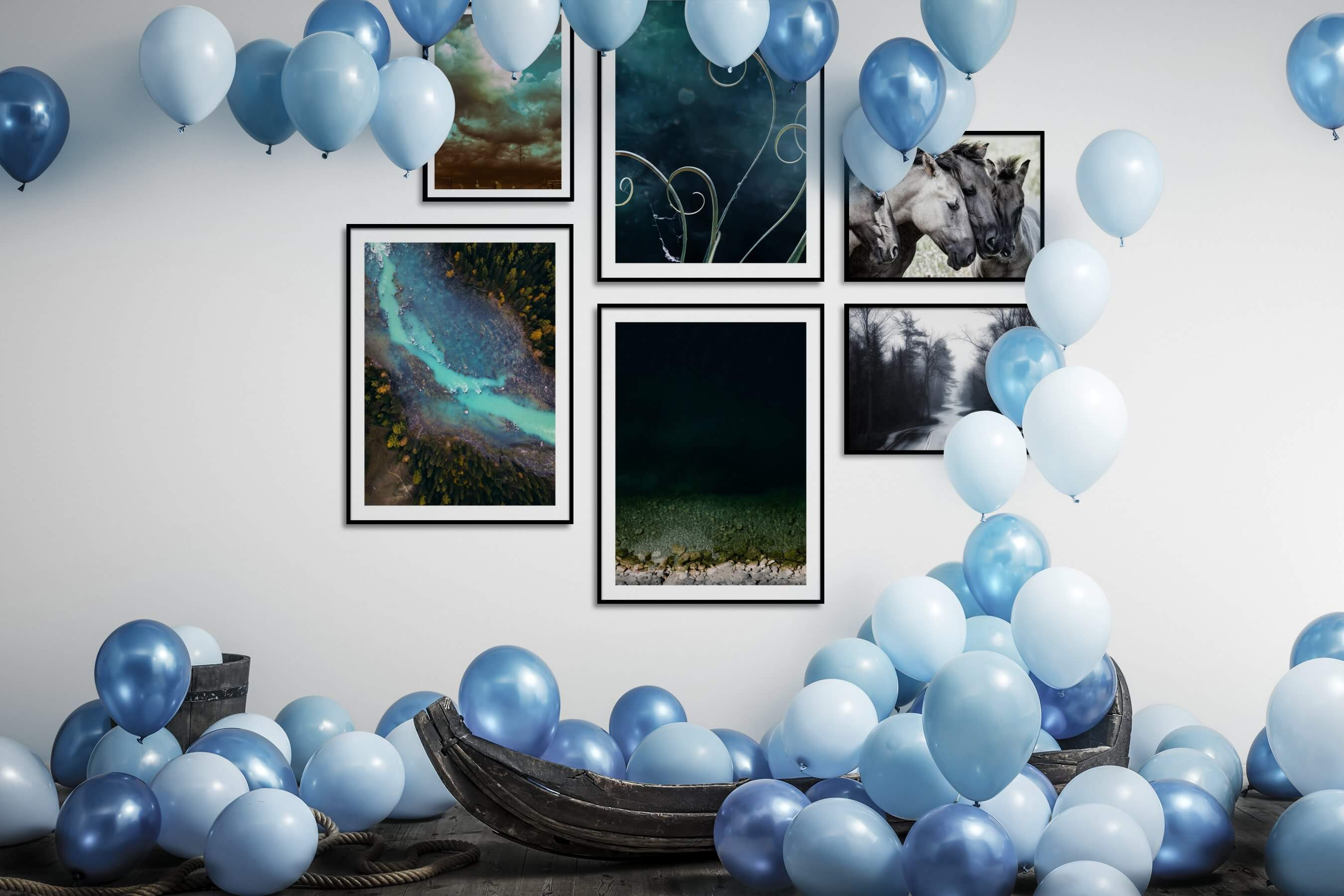 Gallery wall idea with six framed pictures arranged on a wall depicting City Life, Vintage, Flowers & Plants, For the Moderate, Nature, For the Minimalist, Beach & Water, Animals, Country Life, and Black & White