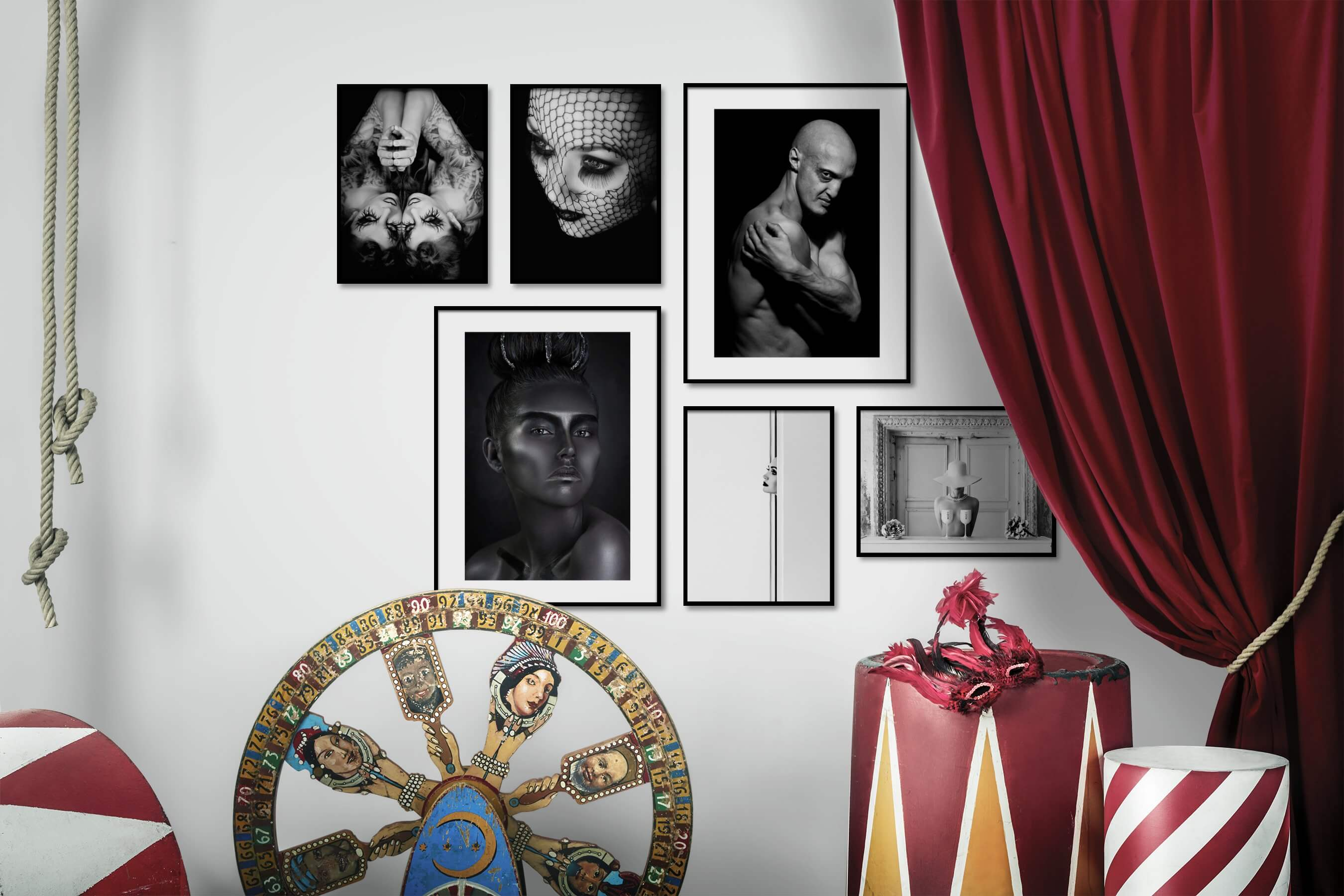 Gallery wall idea with six framed pictures arranged on a wall depicting Fashion & Beauty, Black & White, Dark Tones, For the Moderate, Bright Tones, For the Minimalist, and Artsy