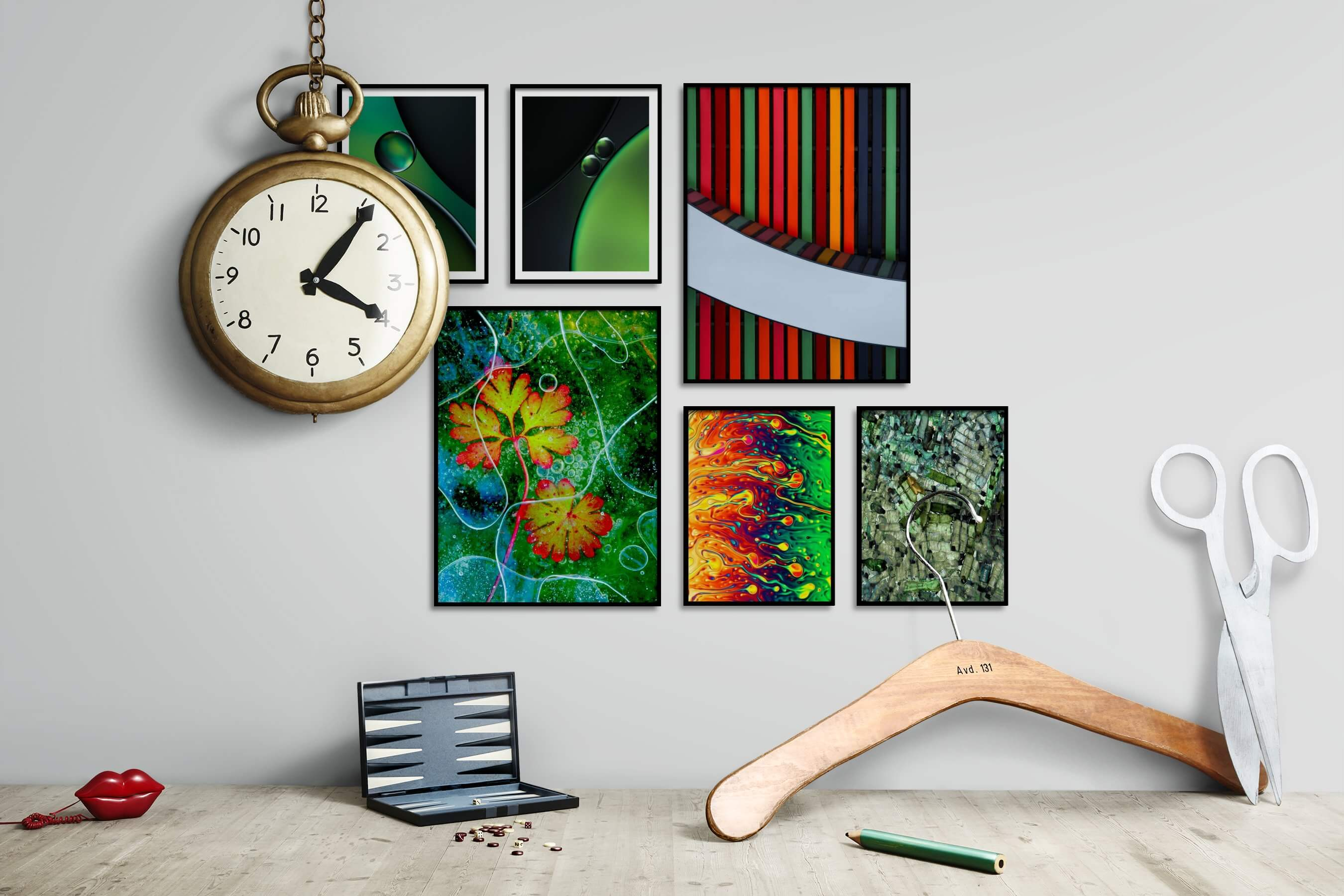 Gallery wall idea with six framed pictures arranged on a wall depicting For the Minimalist, For the Maximalist, Flowers & Plants, Colorful, and For the Moderate