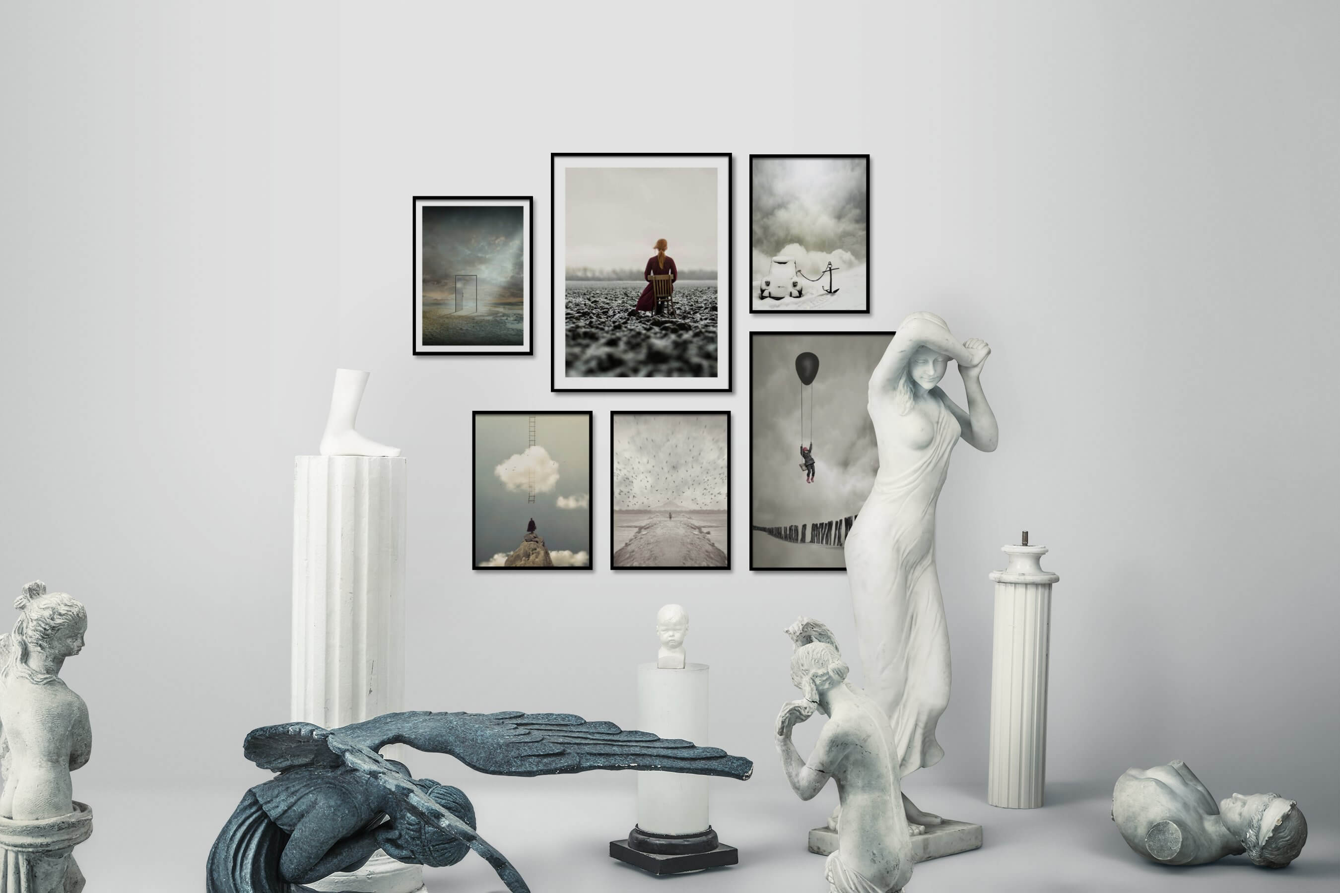 Gallery wall idea with six framed pictures arranged on a wall depicting Artsy, Mindfulness, Country Life, Nature, and For the Moderate