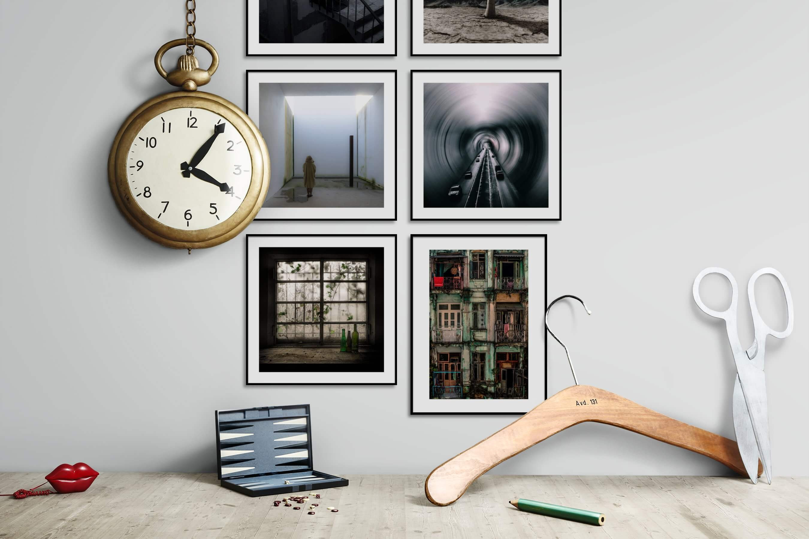 Gallery wall idea with six framed pictures arranged on a wall depicting Artsy, Black & White, For the Moderate, Vintage, and City Life