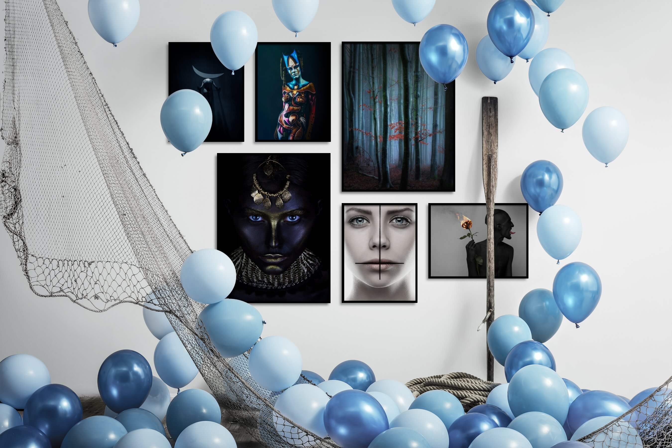 Gallery wall idea with six framed pictures arranged on a wall depicting Artsy, Dark Tones, For the Minimalist, Fashion & Beauty, and Nature